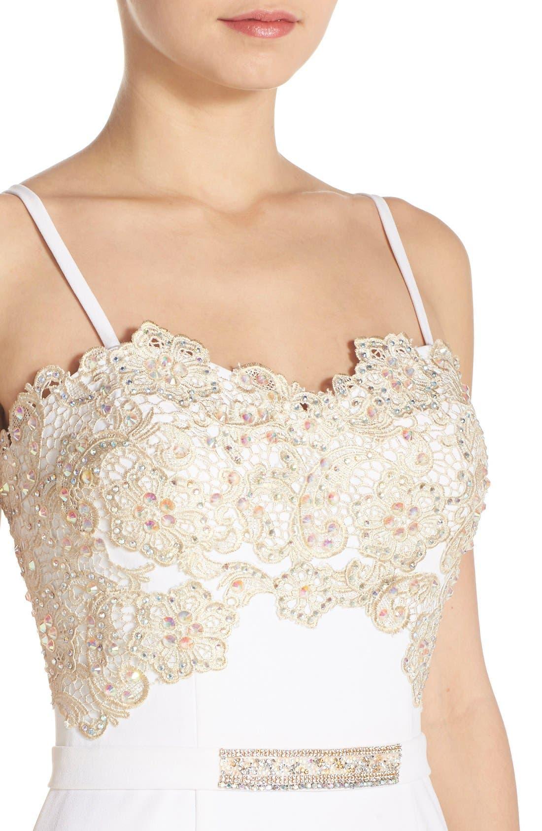 Alternate Image 4  - Terani Couture Illusion Lace & Crepe Mermaid Gown