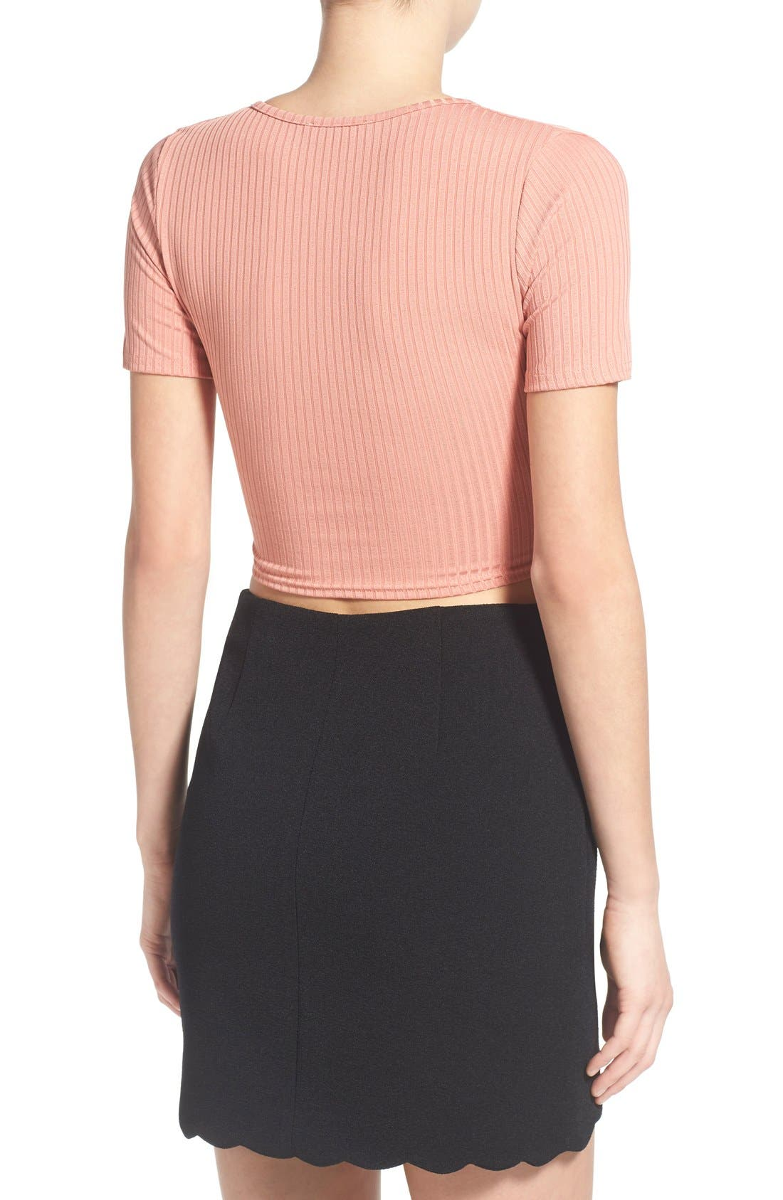 Alternate Image 2  - Missguided Rib Wrap Front Crop Top