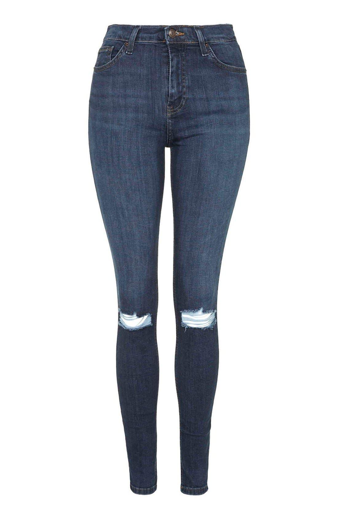Alternate Image 4  - Topshop 'Jamie' Ripped Crop Skinny Jeans (Navy Blue) (Petite)