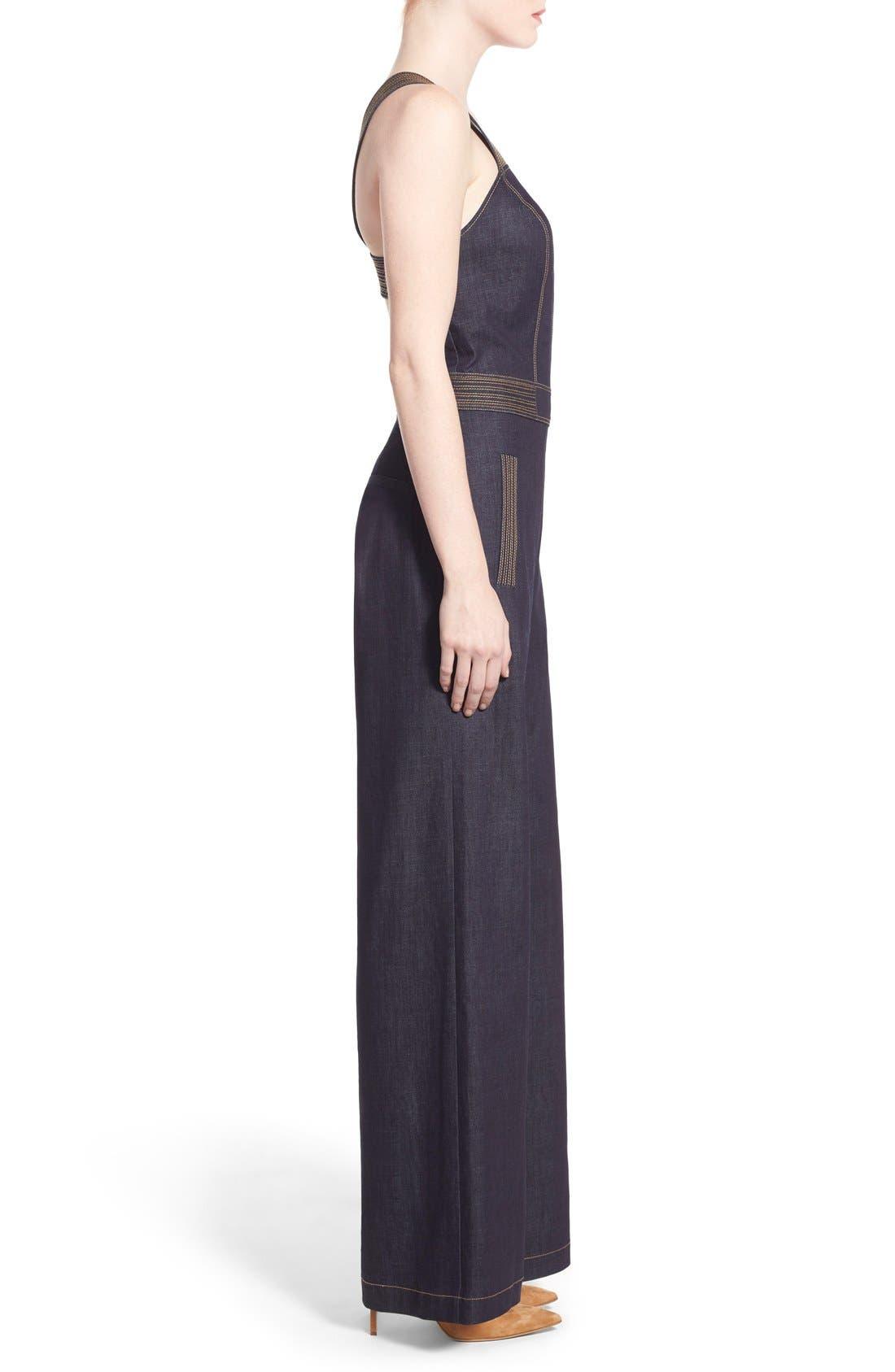 Alternate Image 3  - Olivia Palermo + Chelsea28 Wide Leg Denim Jumpsuit