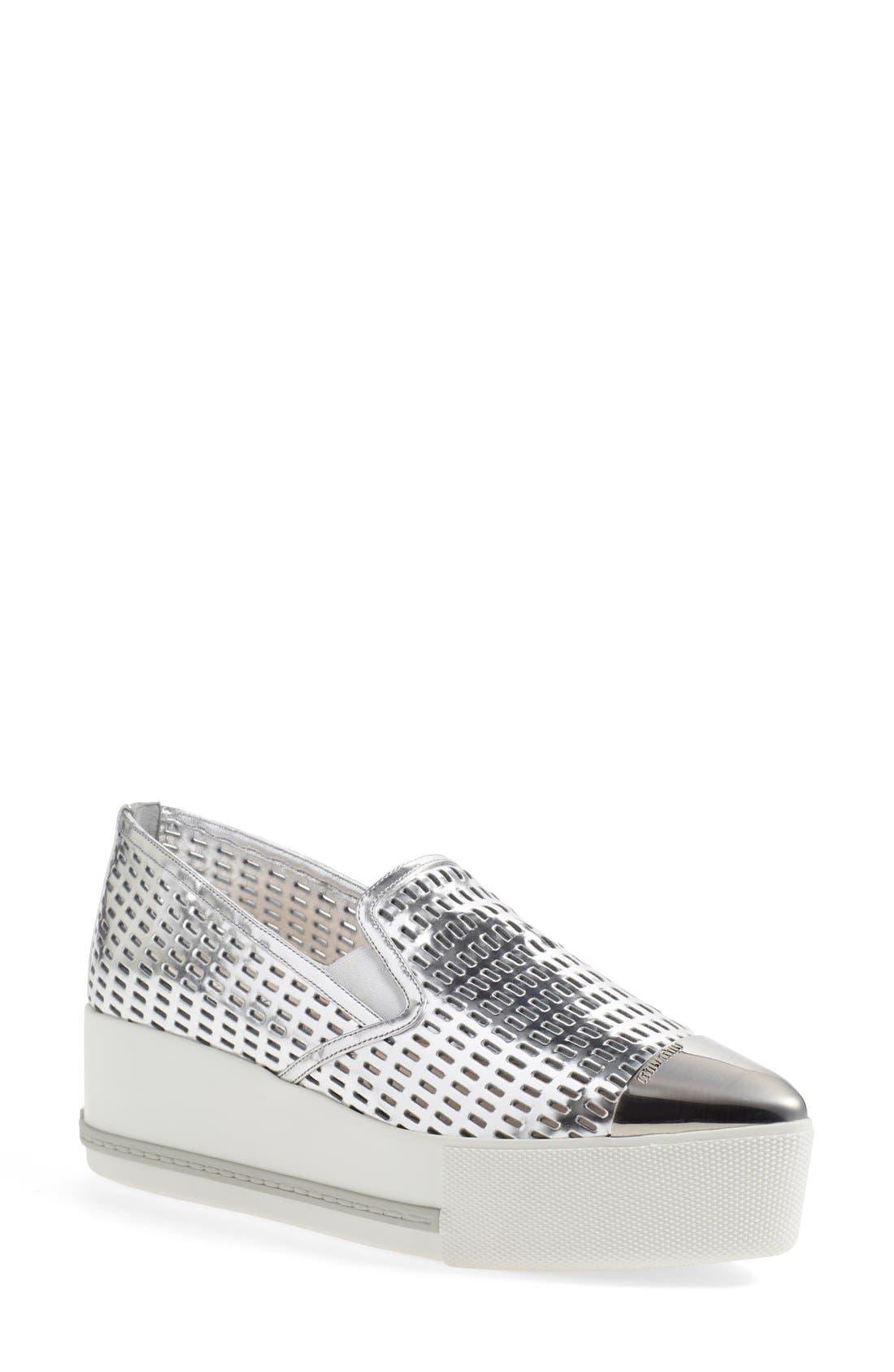 Main Image - Miu Miu 'Pantofole' Perforated Platform Sneaker (Women)
