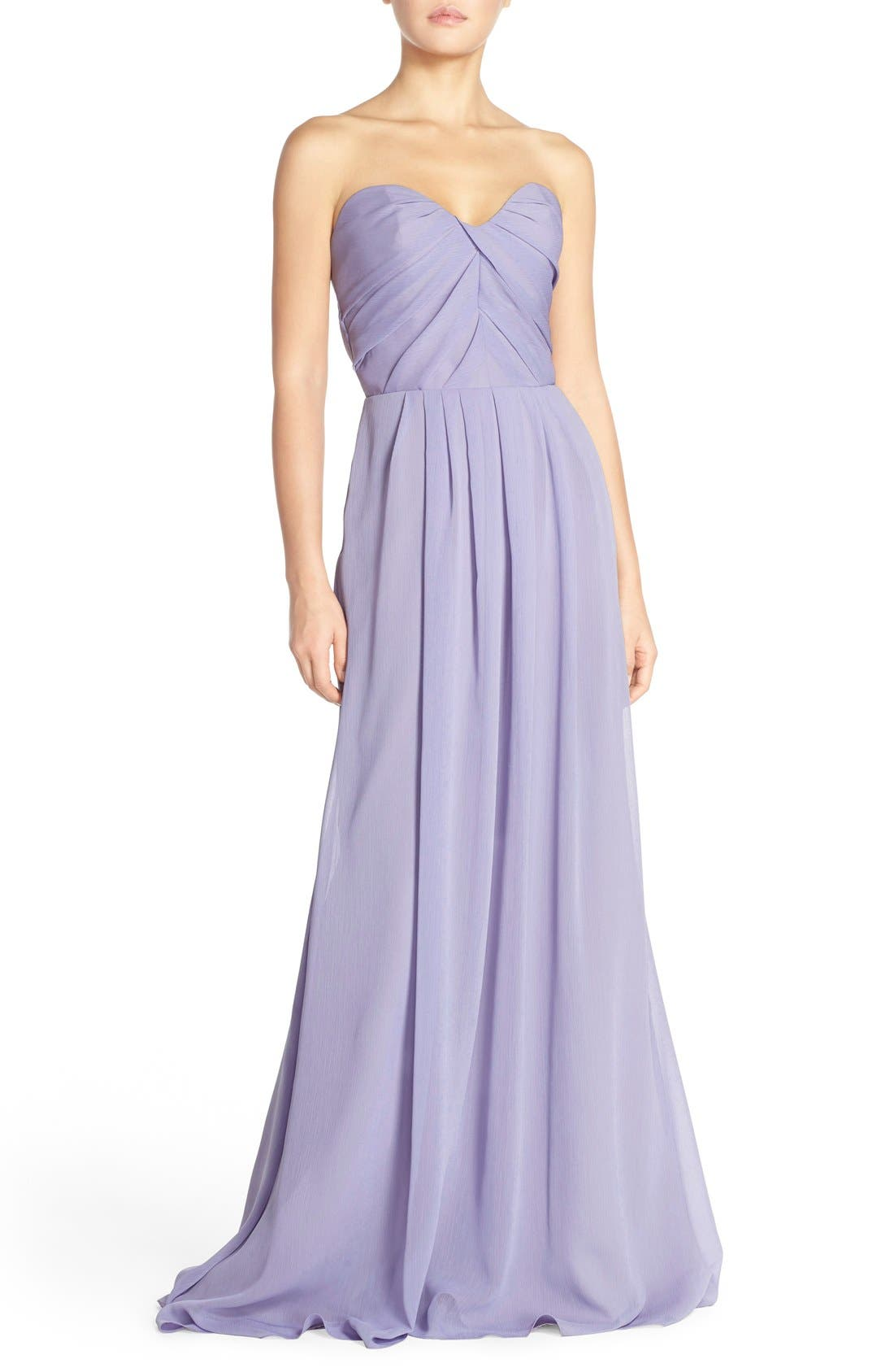 Main Image - Hayley Paige Occasions Strapless Crinkle Chiffon A-Line Gown