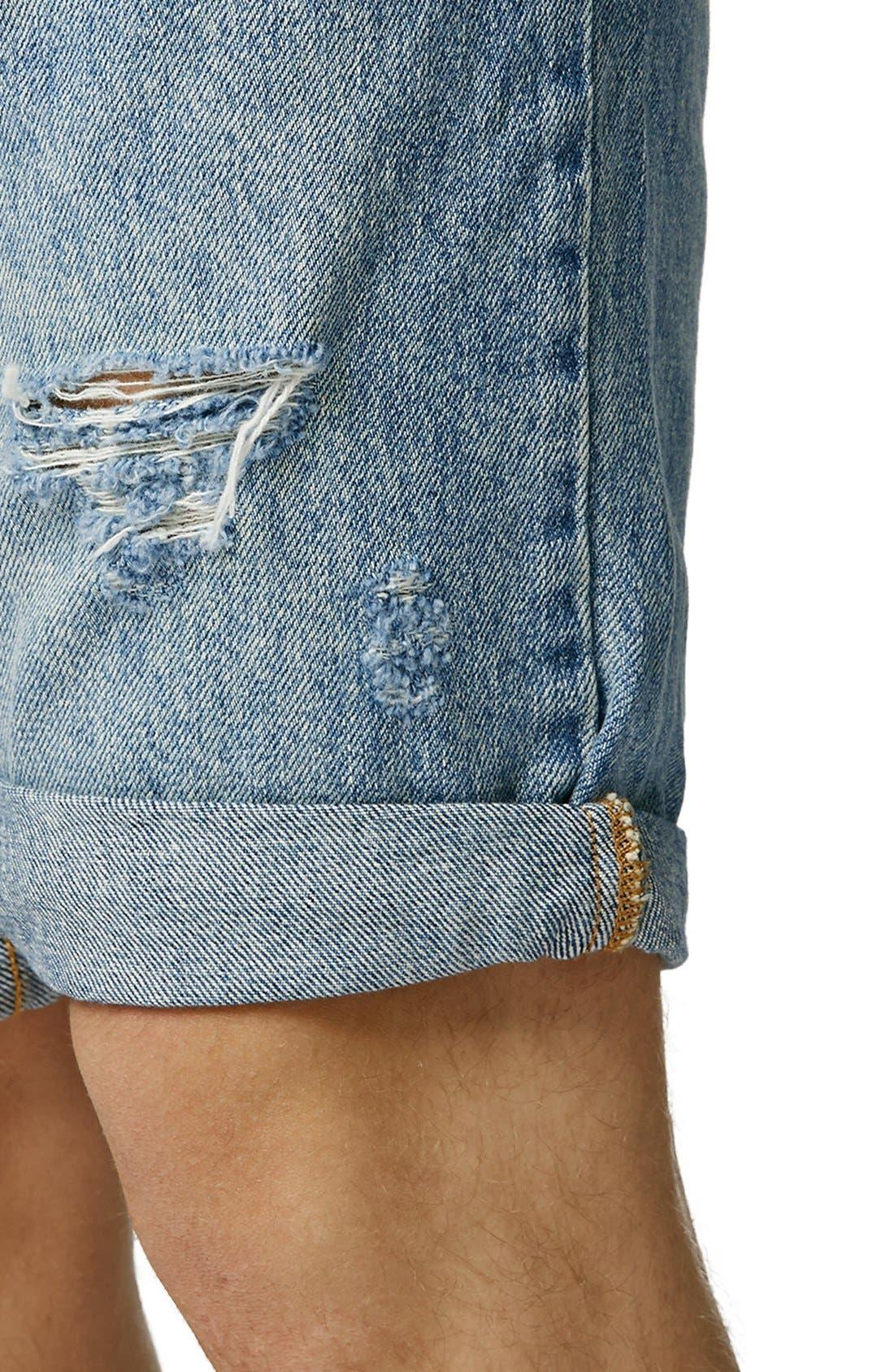 Alternate Image 3  - Topman Ripped Skinny Fit Denim Shorts