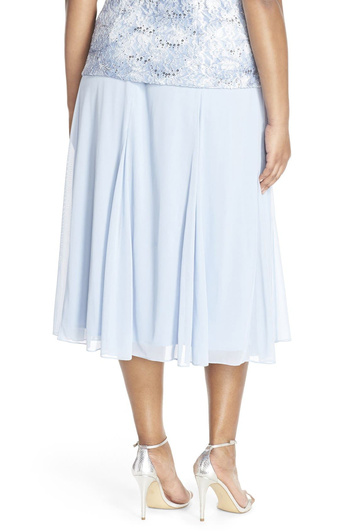 Alternate Image 5  - Alex Evenings Mesh Skirt (Plus Size)