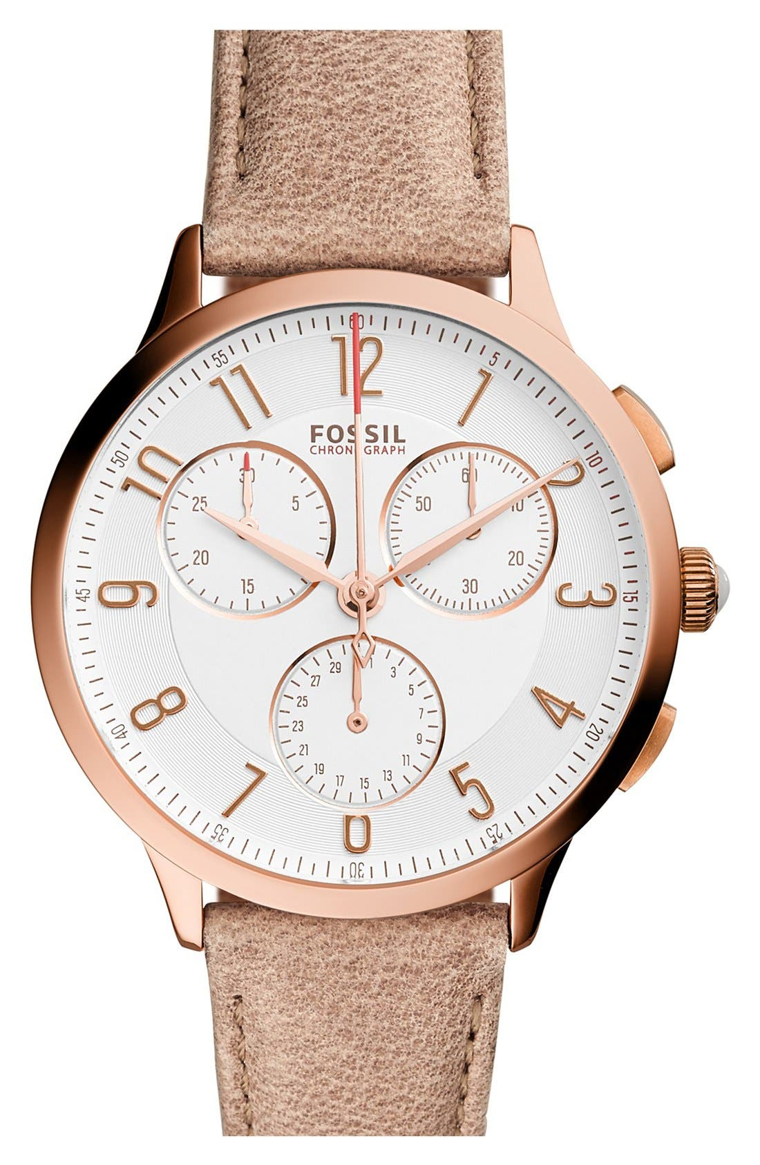 Fossil Abilene Chronograph Leather Strap Watch