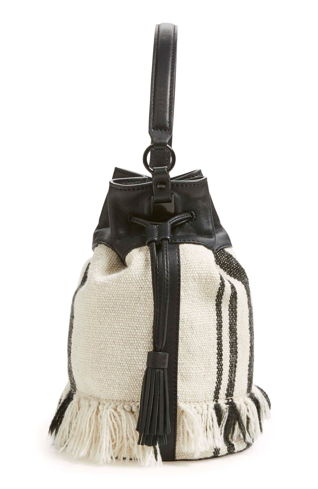 Alternate Image 5  - Loeffler Randall Woven Canvas & Nappa Leather Bucket Bag