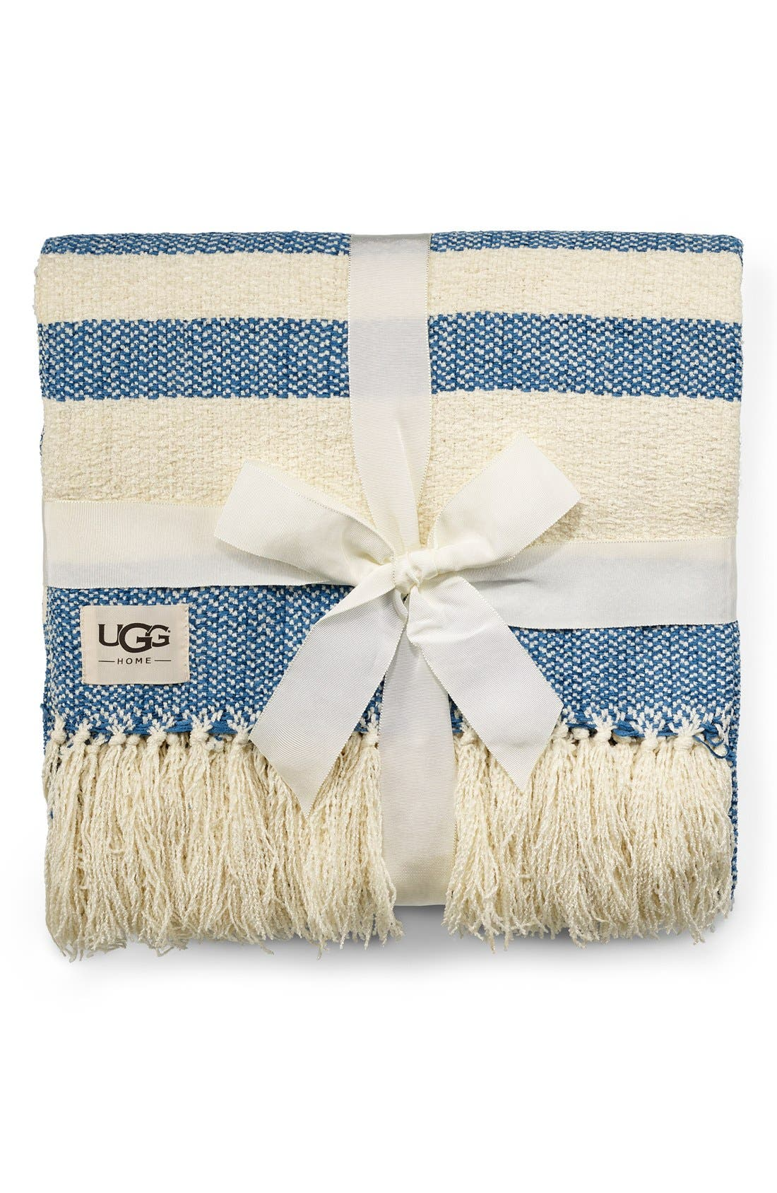 Alternate Image 1 Selected - UGG® 'Racing Stripe' Fringe Throw