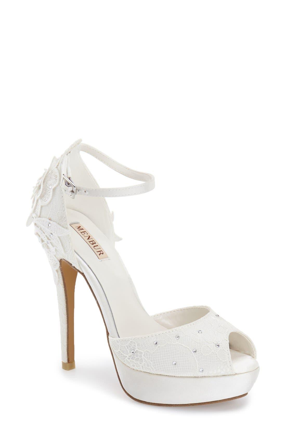 MENBUR 'Dafne' Lace & Crystal Platform Sandal