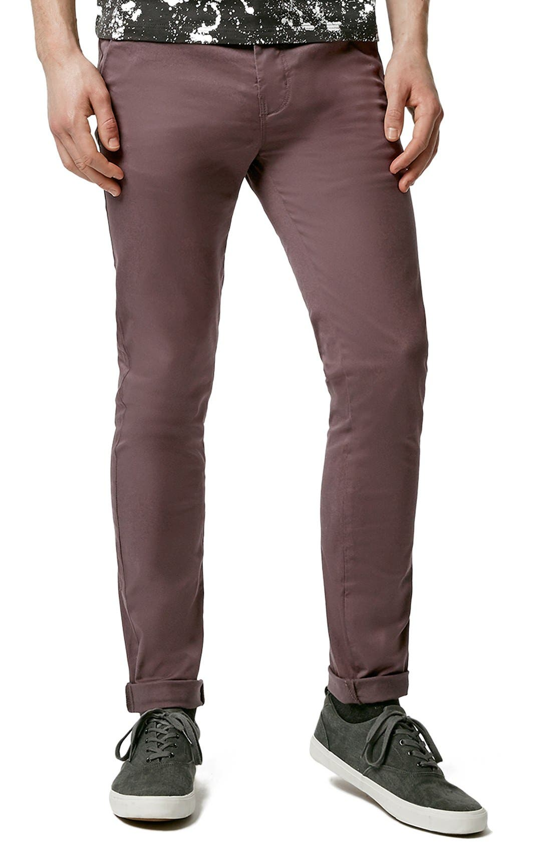 Alternate Image 1 Selected - Topman Stretch Skinny Fit Chinos