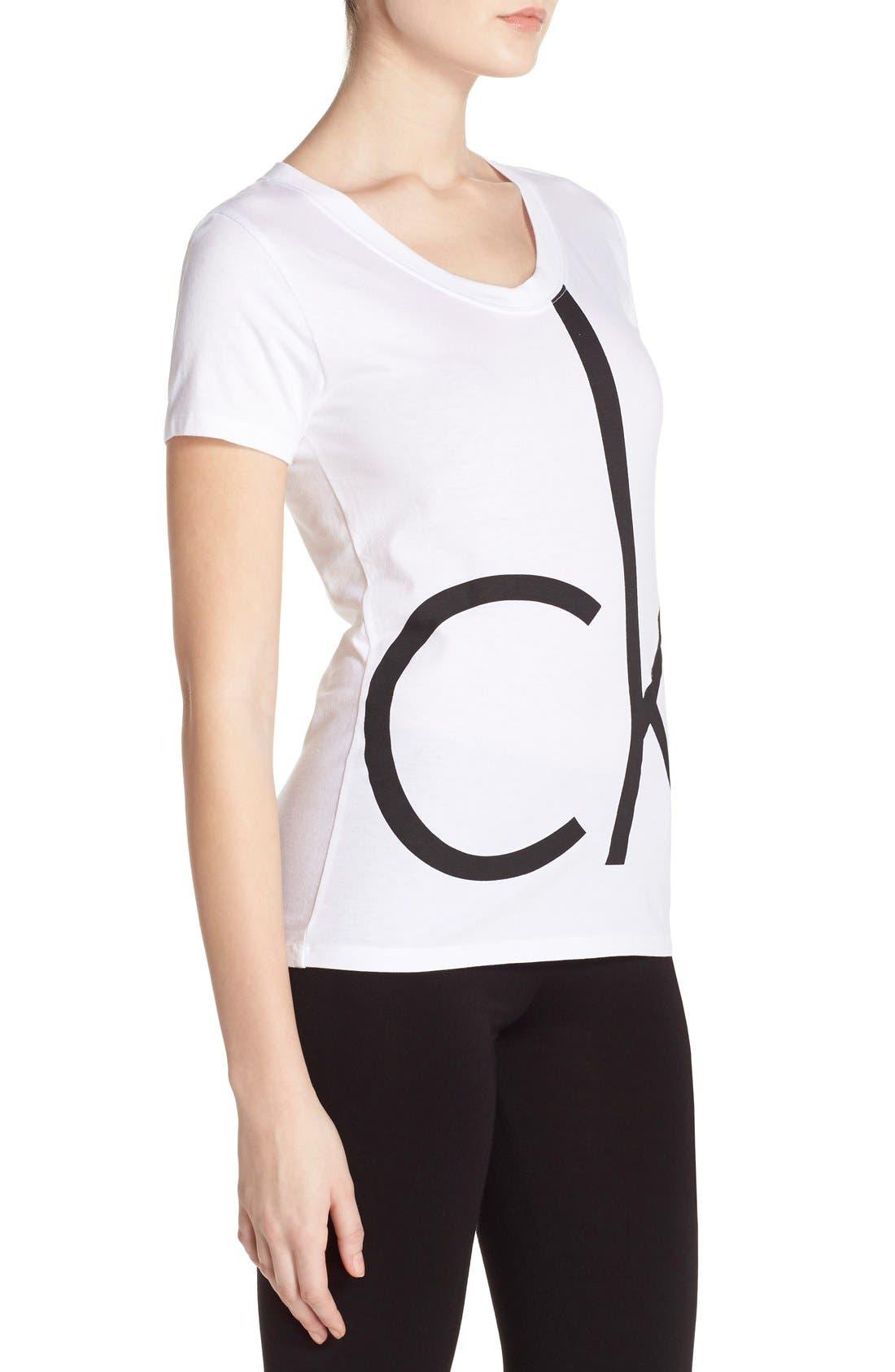 Alternate Image 3  - Calvin Klein V-Neck Logo Tee