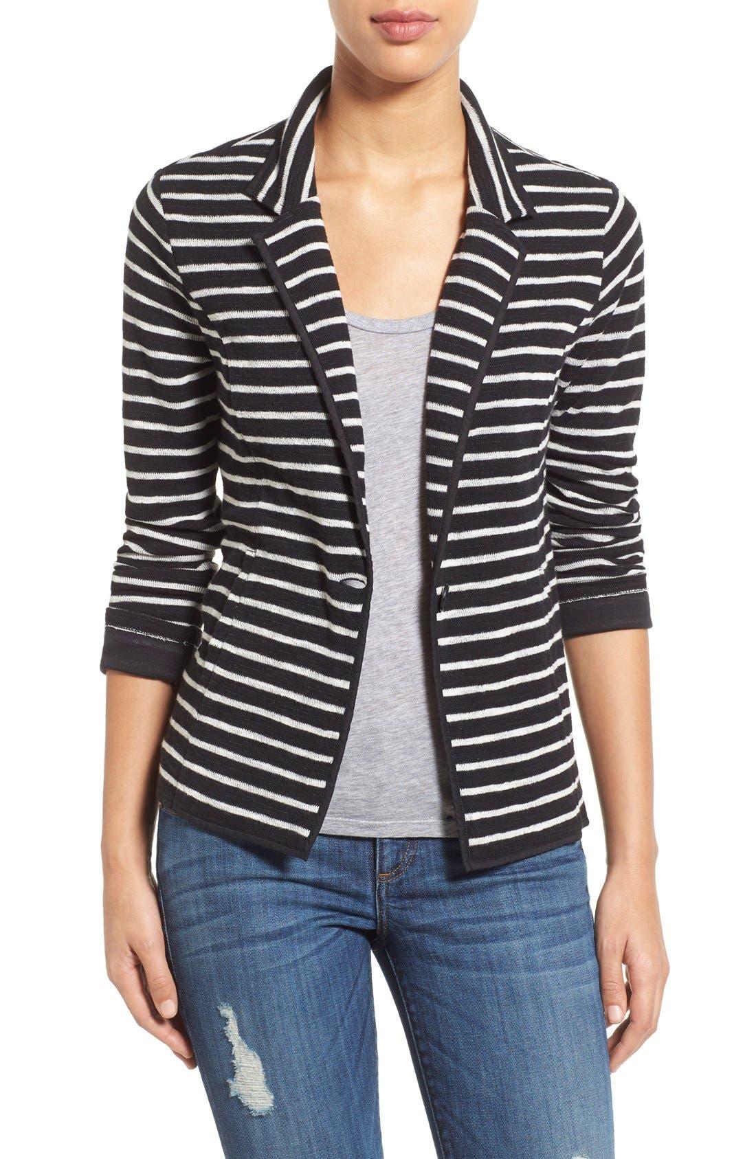 Alternate Image 1 Selected - Caslon® One-Button Knit Blazer (Regular & Petite)