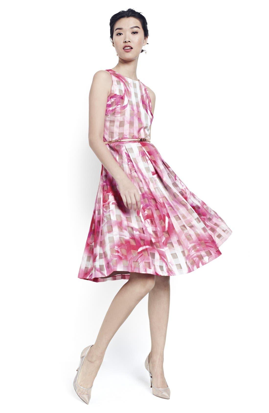 Alternate Image 7  - Eliza J Floral Organza Fit & Flare Dress (Regular & Petite)