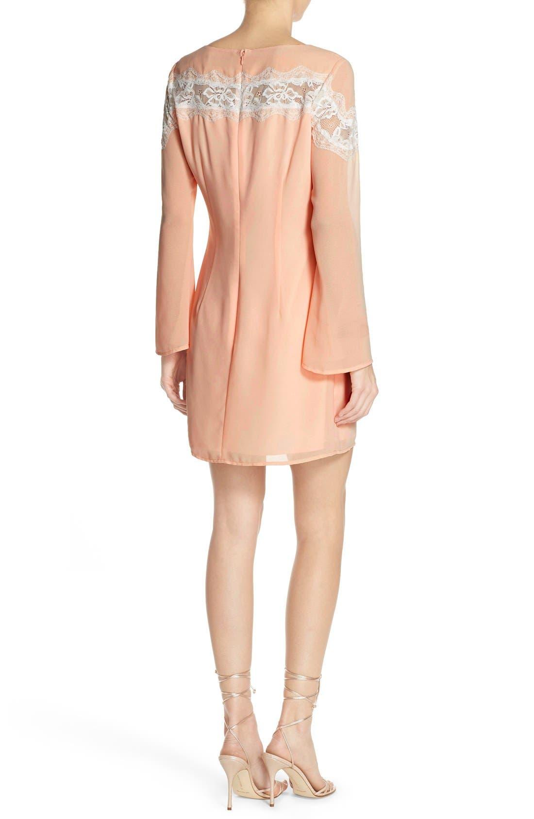 Alternate Image 2  - Chelsea28 Lace Trim Chiffon Shift Dress