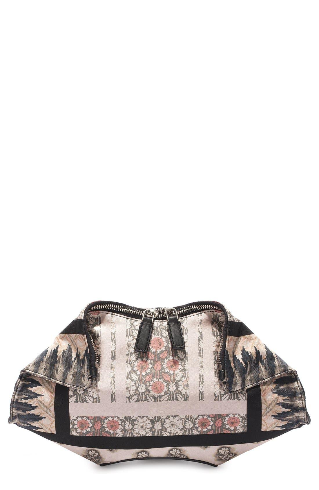 Alternate Image 1 Selected - Alexander McQueen 'Small De Manta' Floral Print Silk Clutch