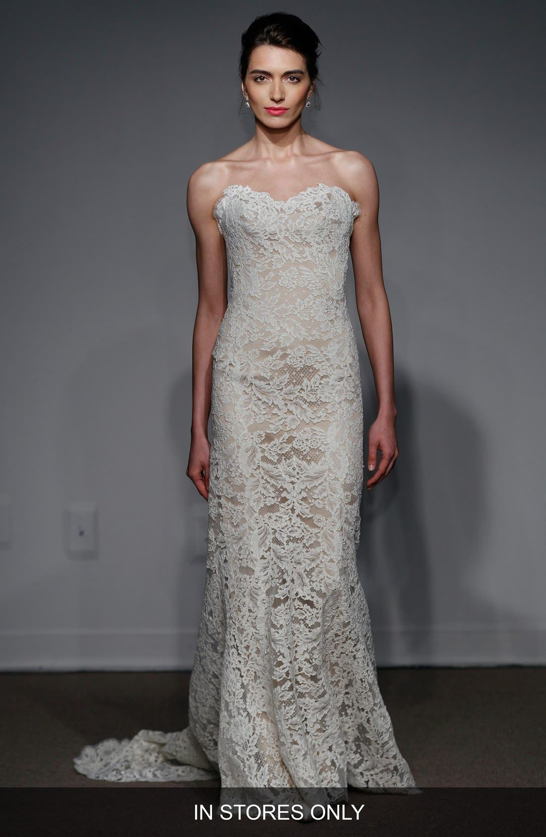 Anna Maier Couture 'Lyon' Strapless Lace Column Gown (In Stores Only)