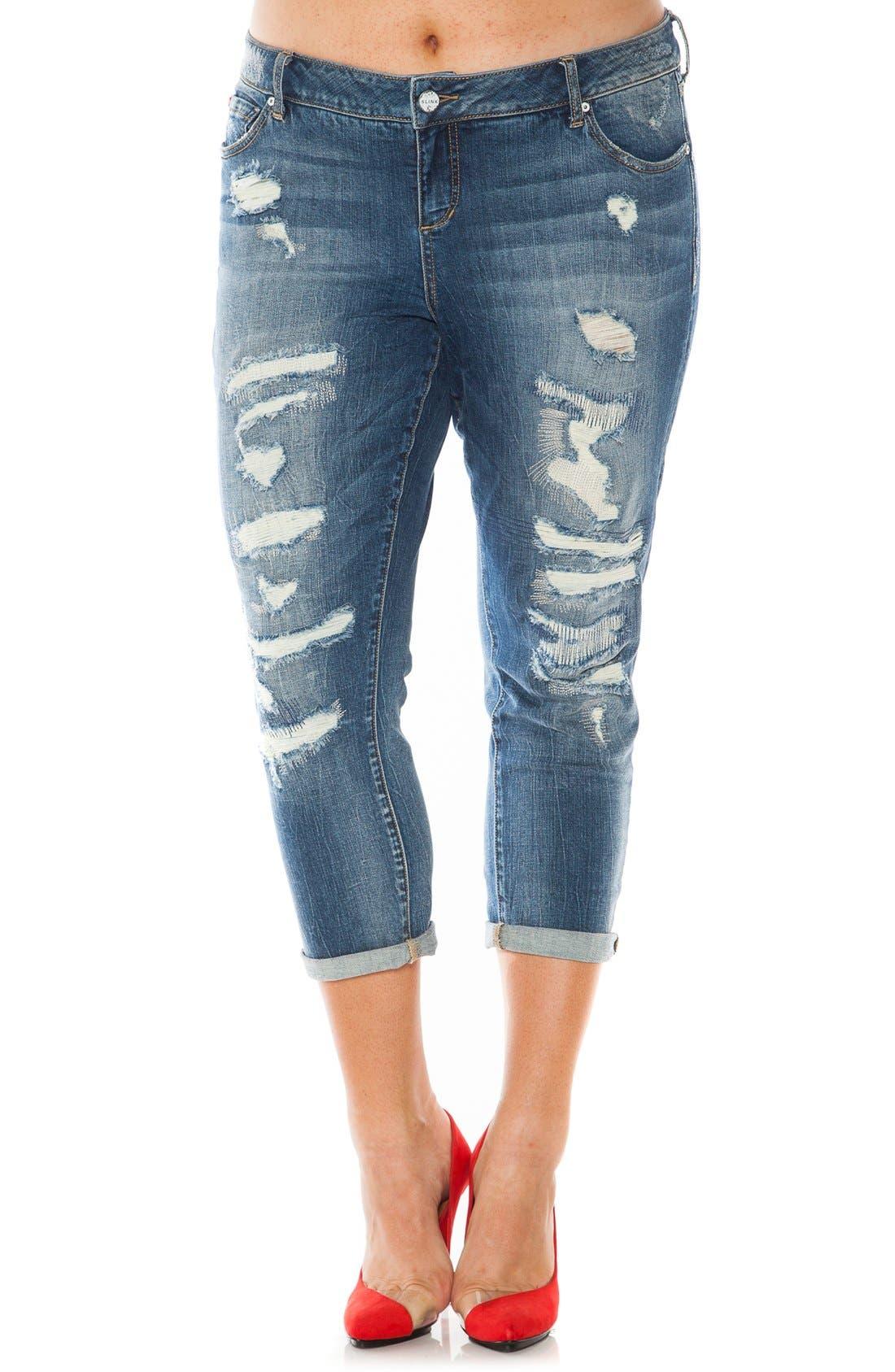 SLINK JEANS Distressed Roll Cuff Stretch Boyfriend Jeans