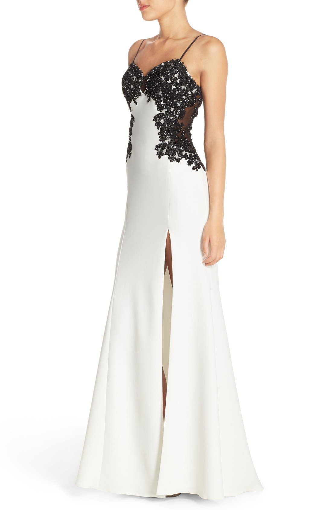Alternate Image 3  - Faviana Spaghetti Strap Gown with Beaded Floral Lace