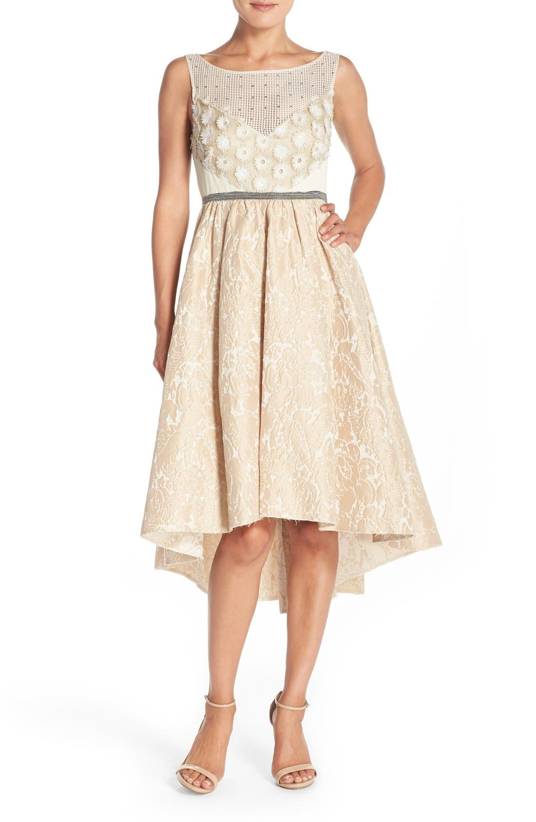 Main Image - Tracy Reese Sequin Appliqué Woven Fit & Flare Dress