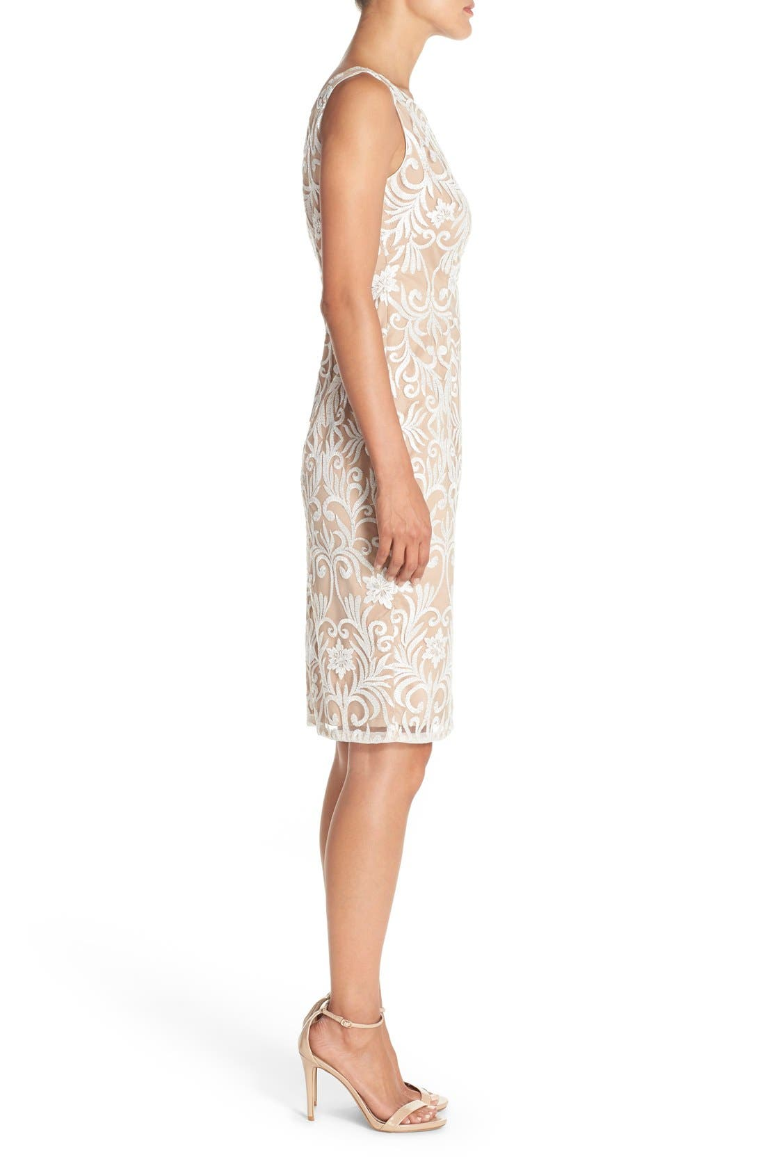 Alternate Image 3  - Adrianna Papell Sequin Embroidered Bateau Neck Sheath Dress