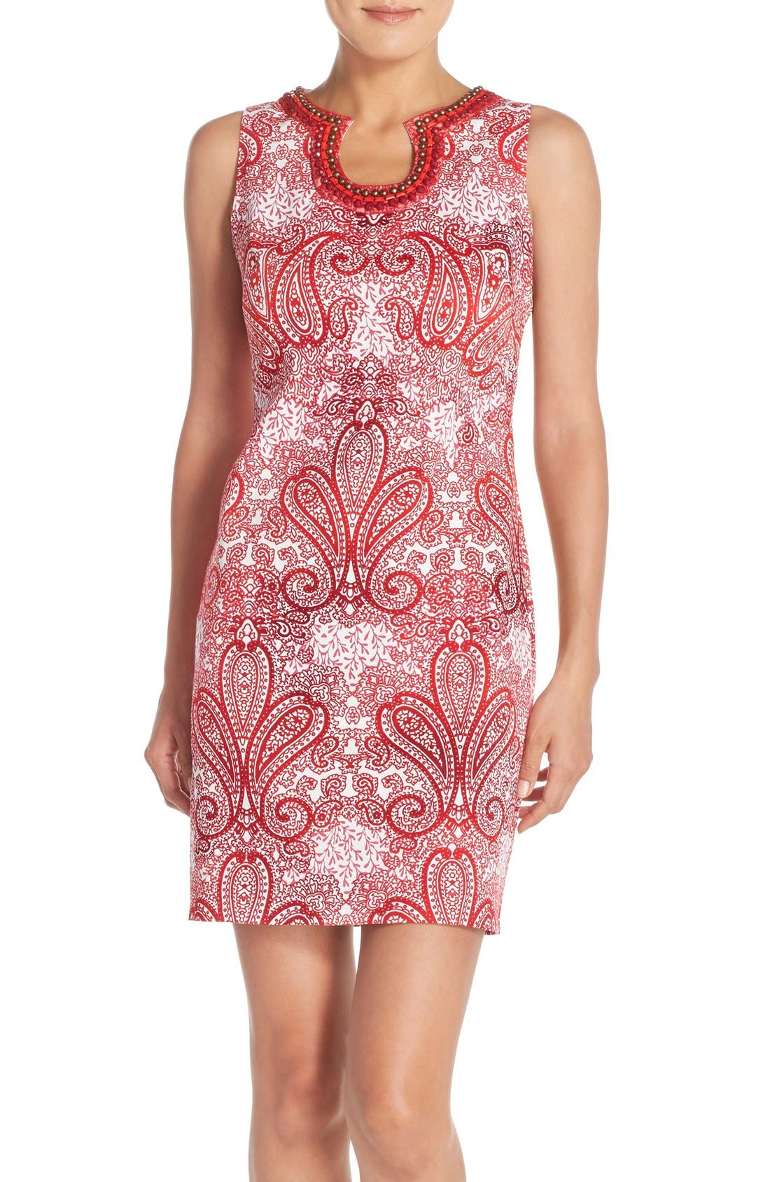 Main Image - London Times 'Regal Ombré' Embellished Paisley Print Sleeveless Shift Dress