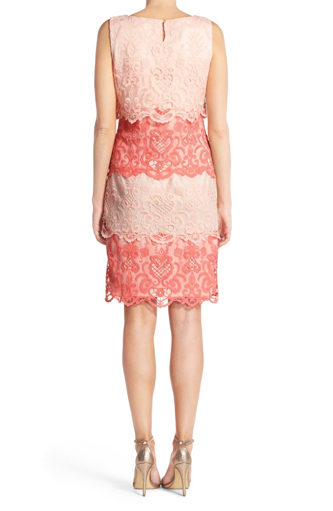 Alternate Image 2  - Chetta B Tiered Lace Sheath Dress