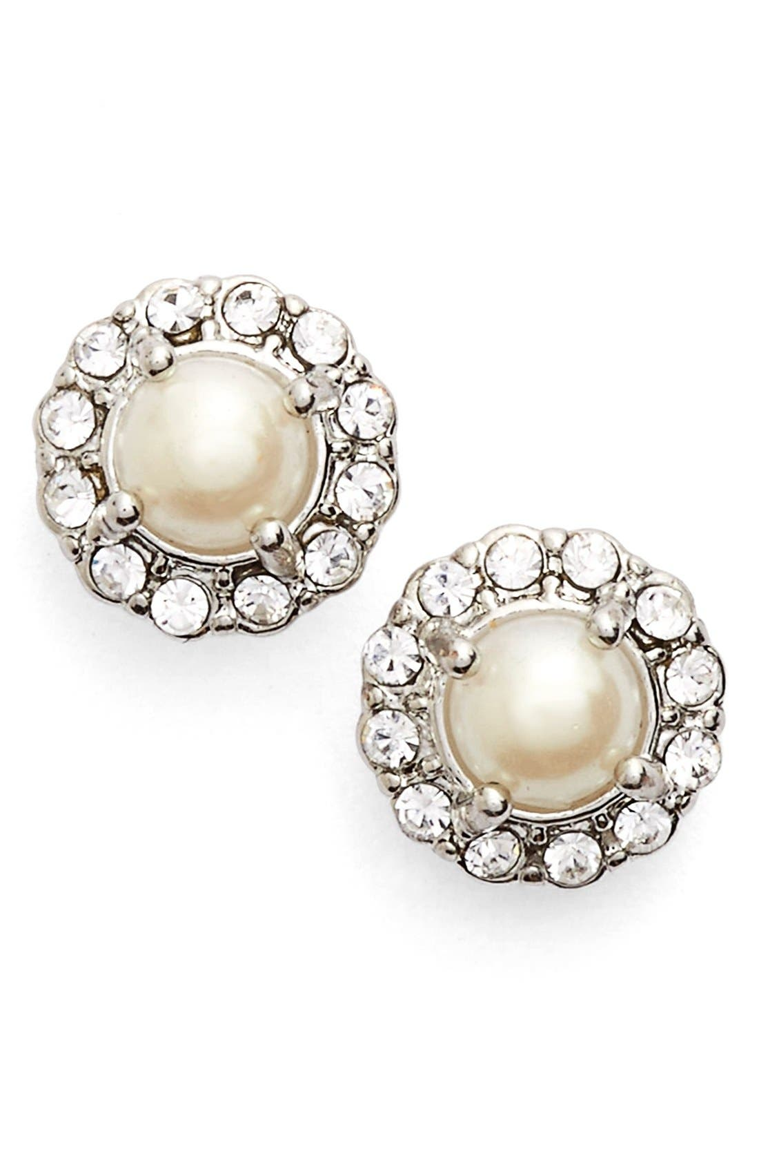 Main Image - Marchesa Faux Pearl & Crystal Button Earrings