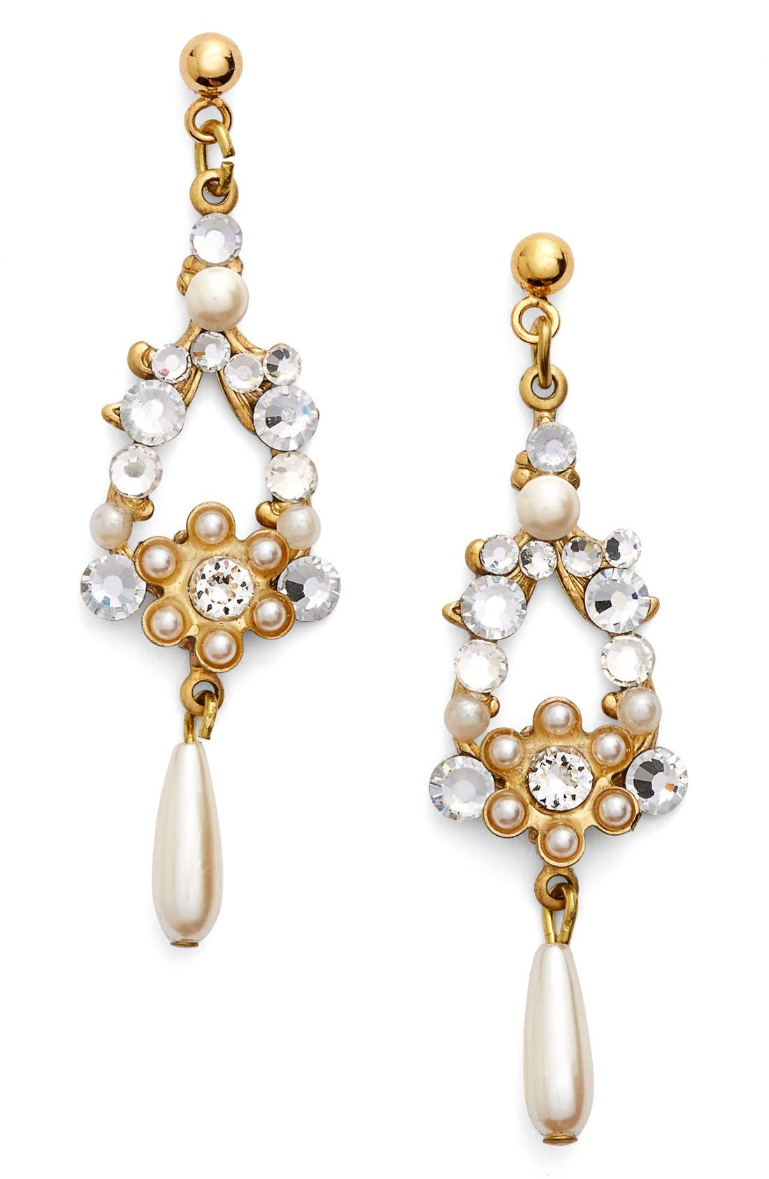 Alternate Image 1 Selected - Halo & Co Crystal & Faux Pearl Chandelier Earrings