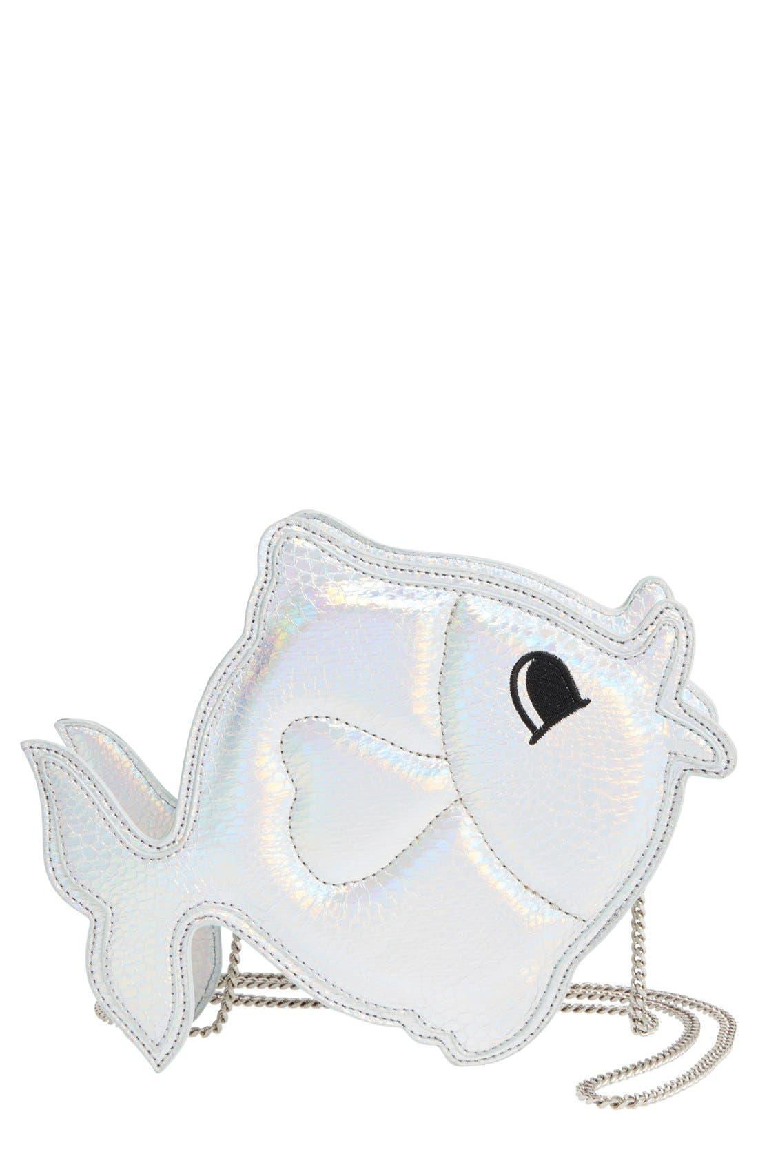 Alternate Image 1 Selected - Nila Anthony 'Fish' Metallic Faux Leather Crossbody Bag