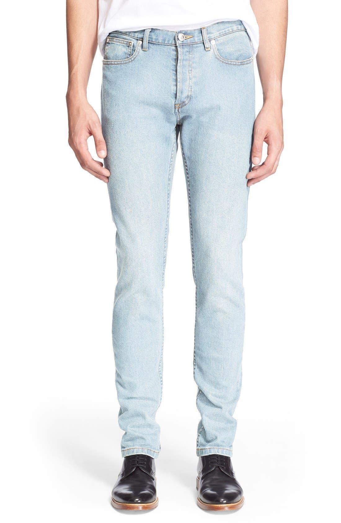 A.P.C. 'New Standard' Slim Straight Leg Jeans (Indigo Délavé)