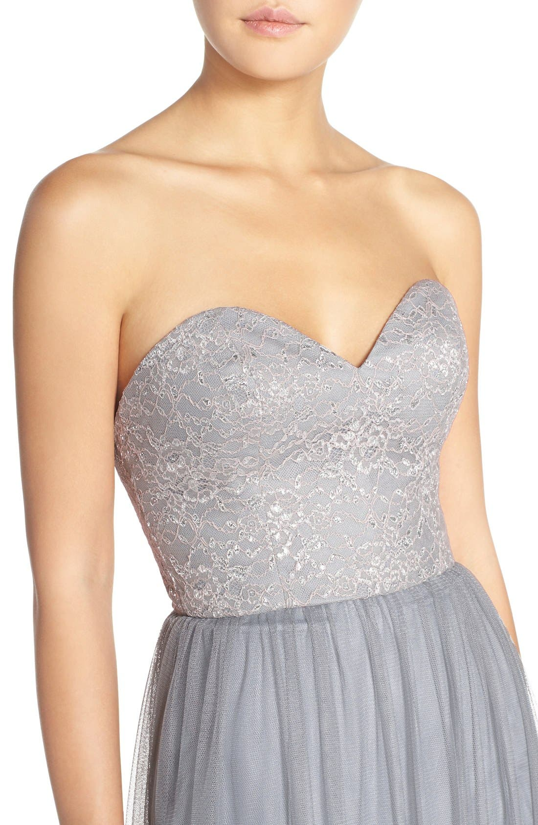 Alternate Image 4  - Hayley Paige Occasions Strapless Metallic Lace & Net Gown