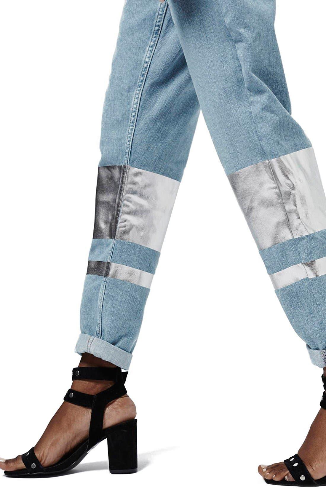 Alternate Image 5  - Topshop Silver Stripe Hologram Crop Boyfriend Jeans (Light)