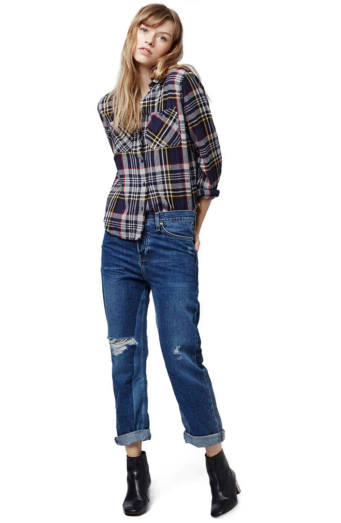 Alternate Image 2  - Topshop 'Patch' Two Tone High Rise Boyfriend Jeans