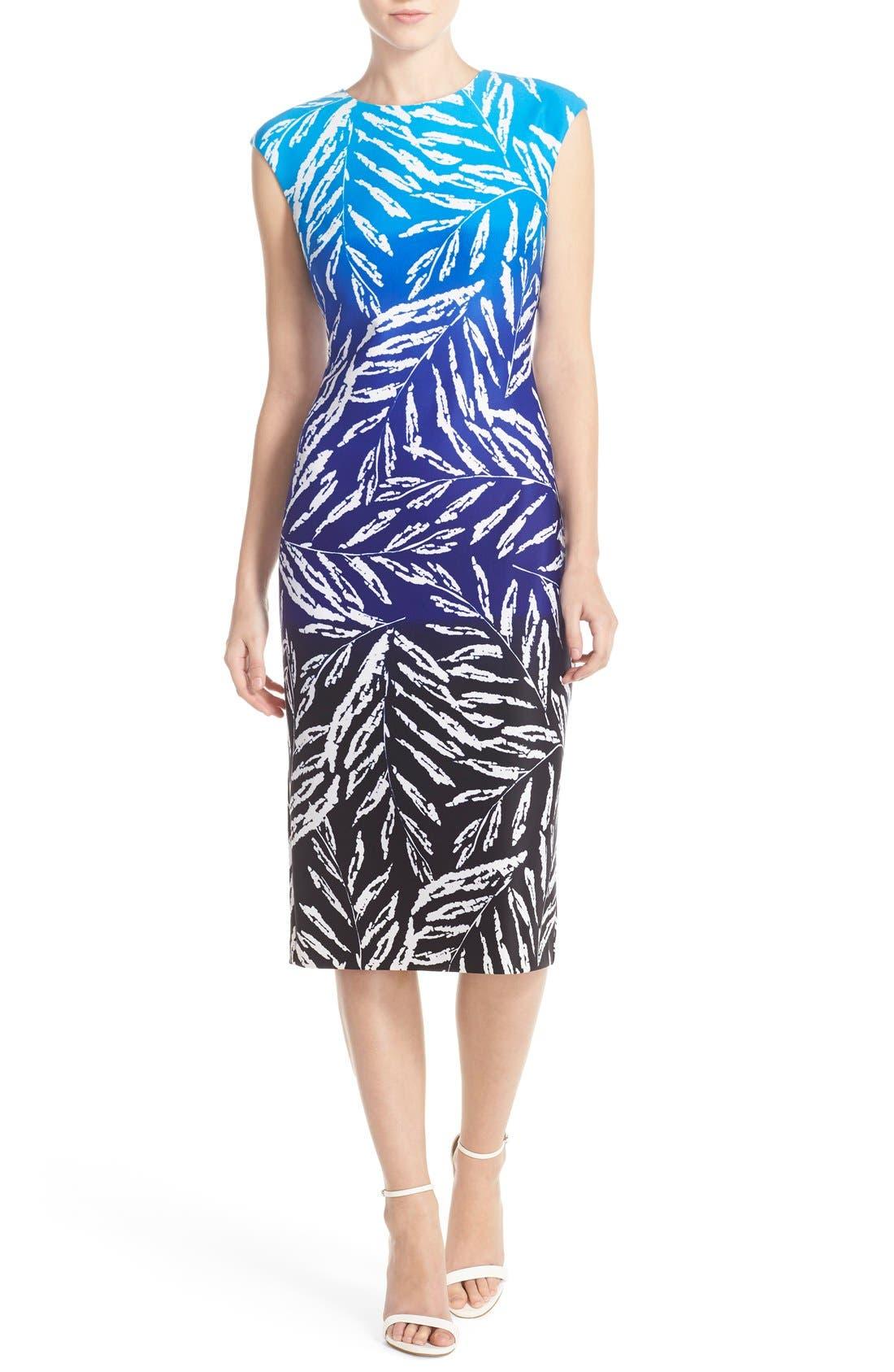 Main Image - Vince Camuto Ombré Print Stretch Scuba Midi Dress