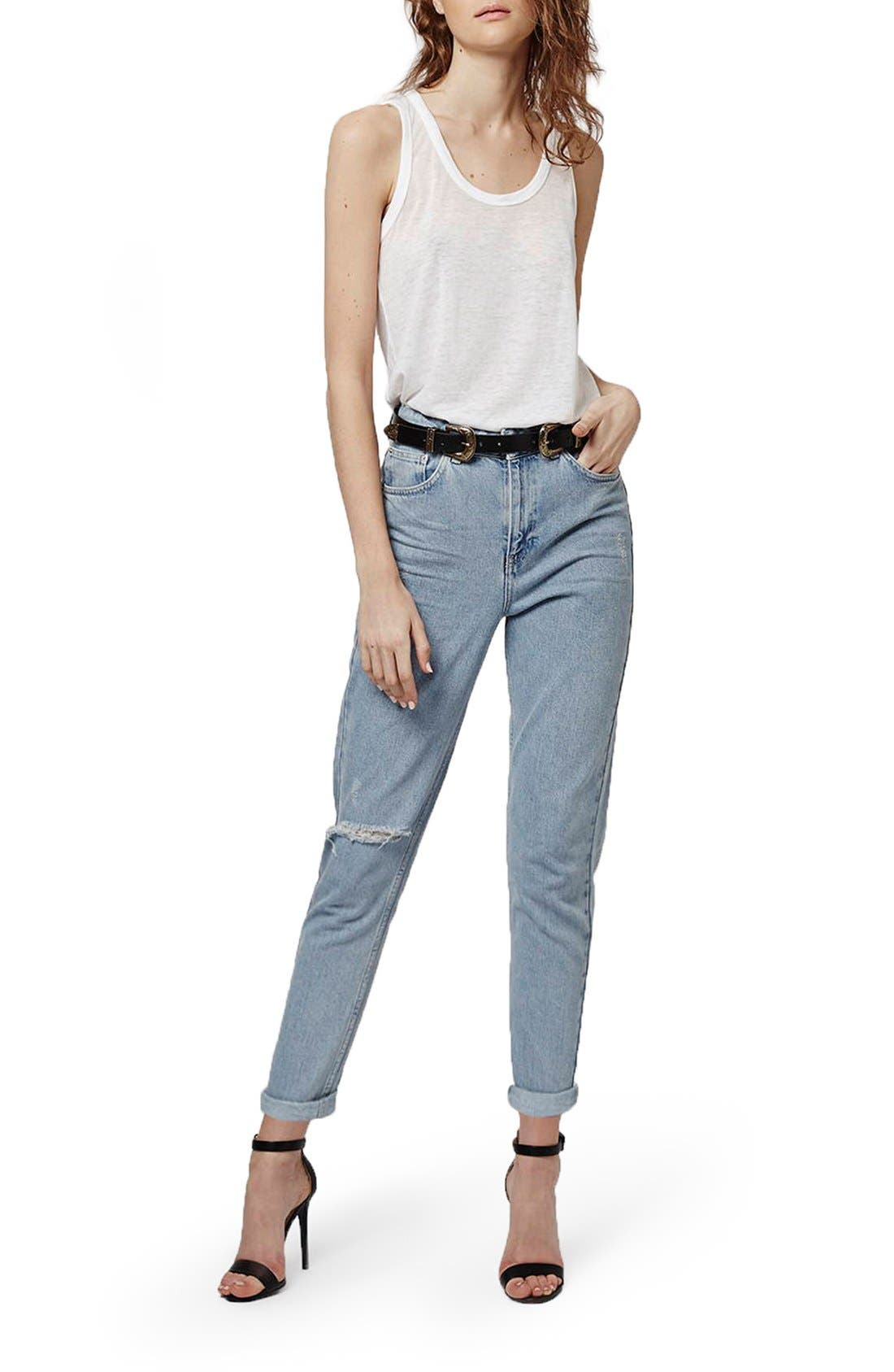 Alternate Image 2  - Topshop High Rise Ripped Mom Jeans (Regular & Petite)