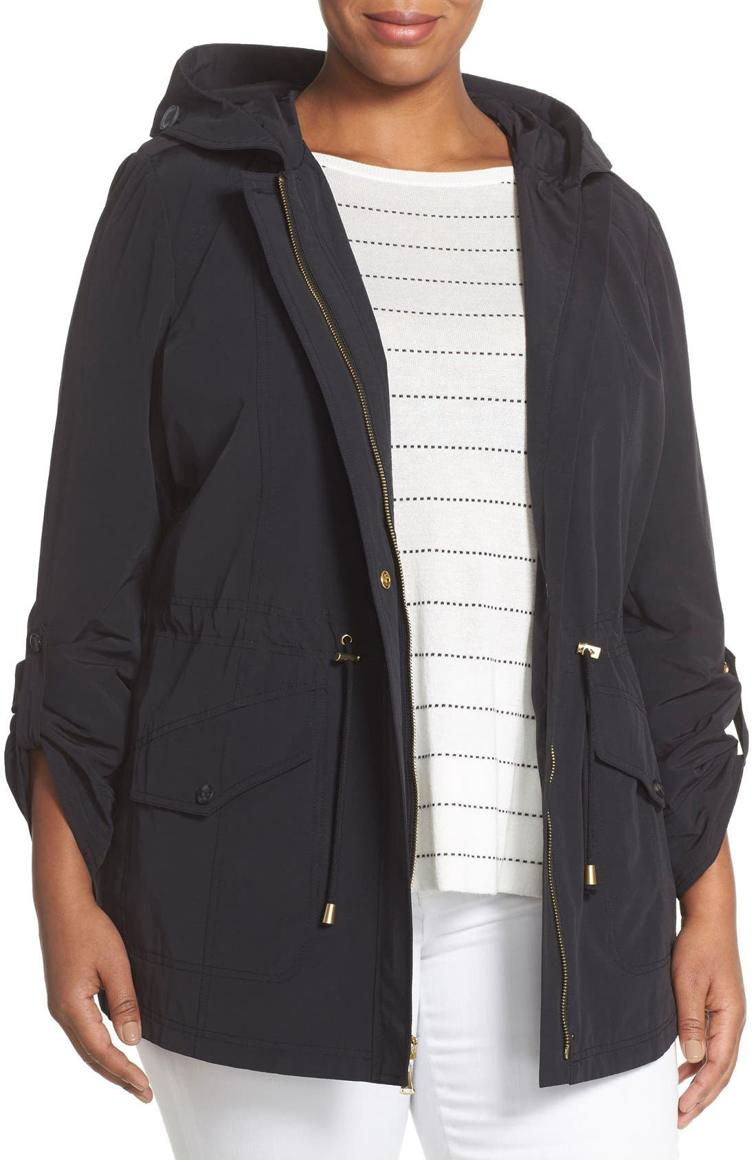 Ellen Tracy Roll Sleeve Sailcloth Anorak (Plus Size)