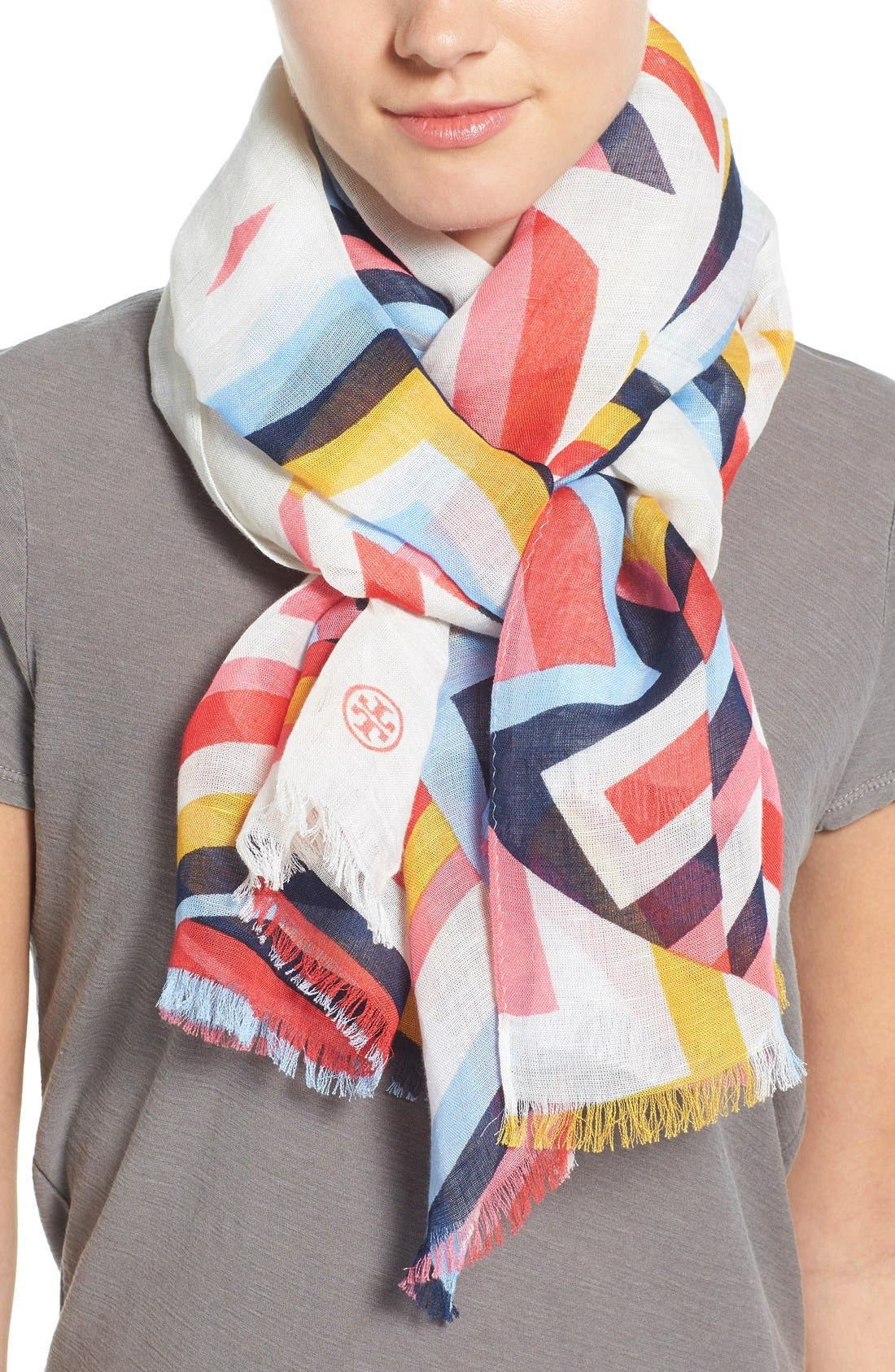 Alternate Image 1 Selected - Tory Burch Stripe T-Print Linen Blend Scarf