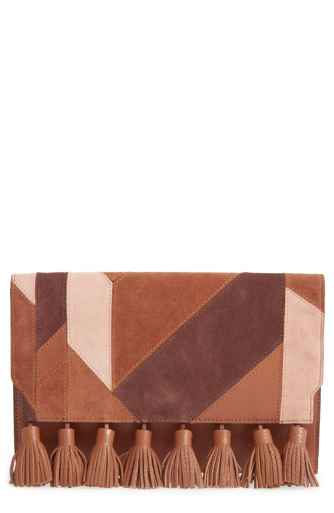 Alternate Image 1 Selected - Rebecca Minkoff 'Sofia' Tassel Patchwork Leather Clutch