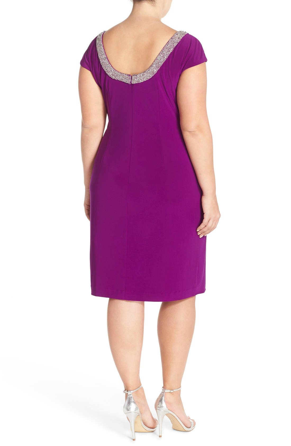 Alternate Image 2  - Alex Evenings Beaded Matte Jersey Sheath Dress (Plus Size)