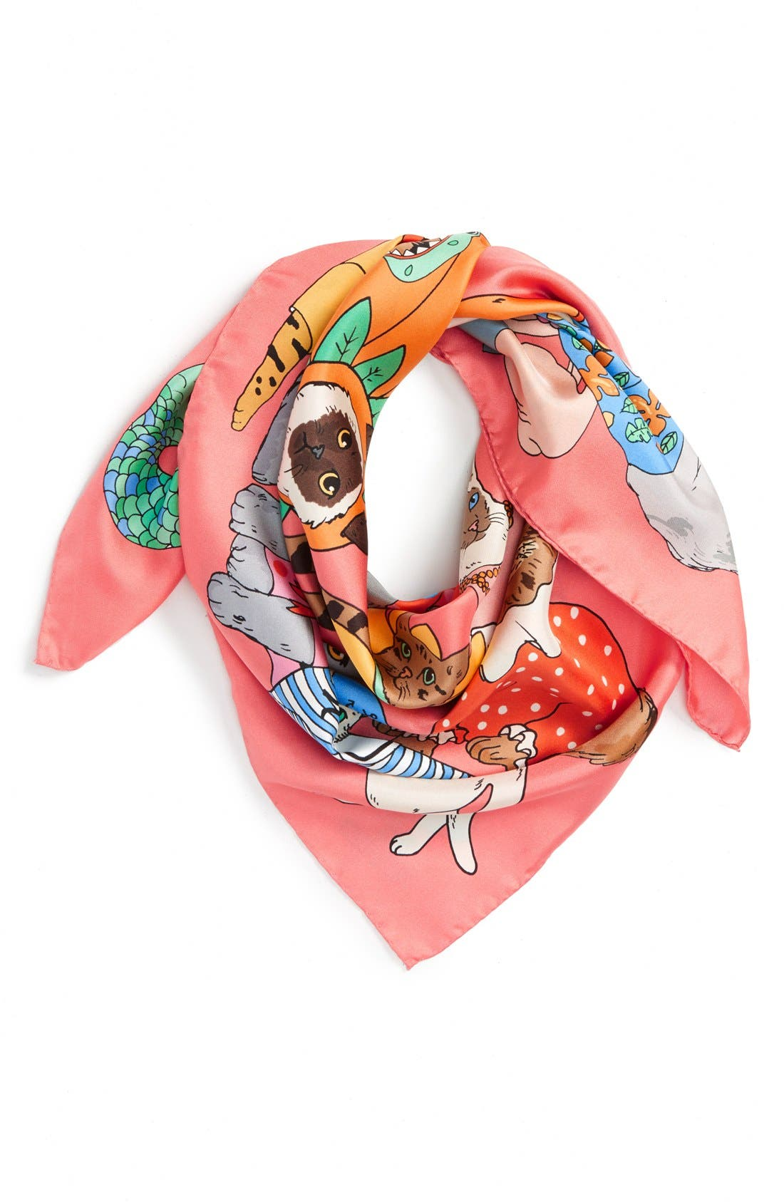 Main Image - Karen Mabon 'Fancy Dress Cats' Silk Square Scarf