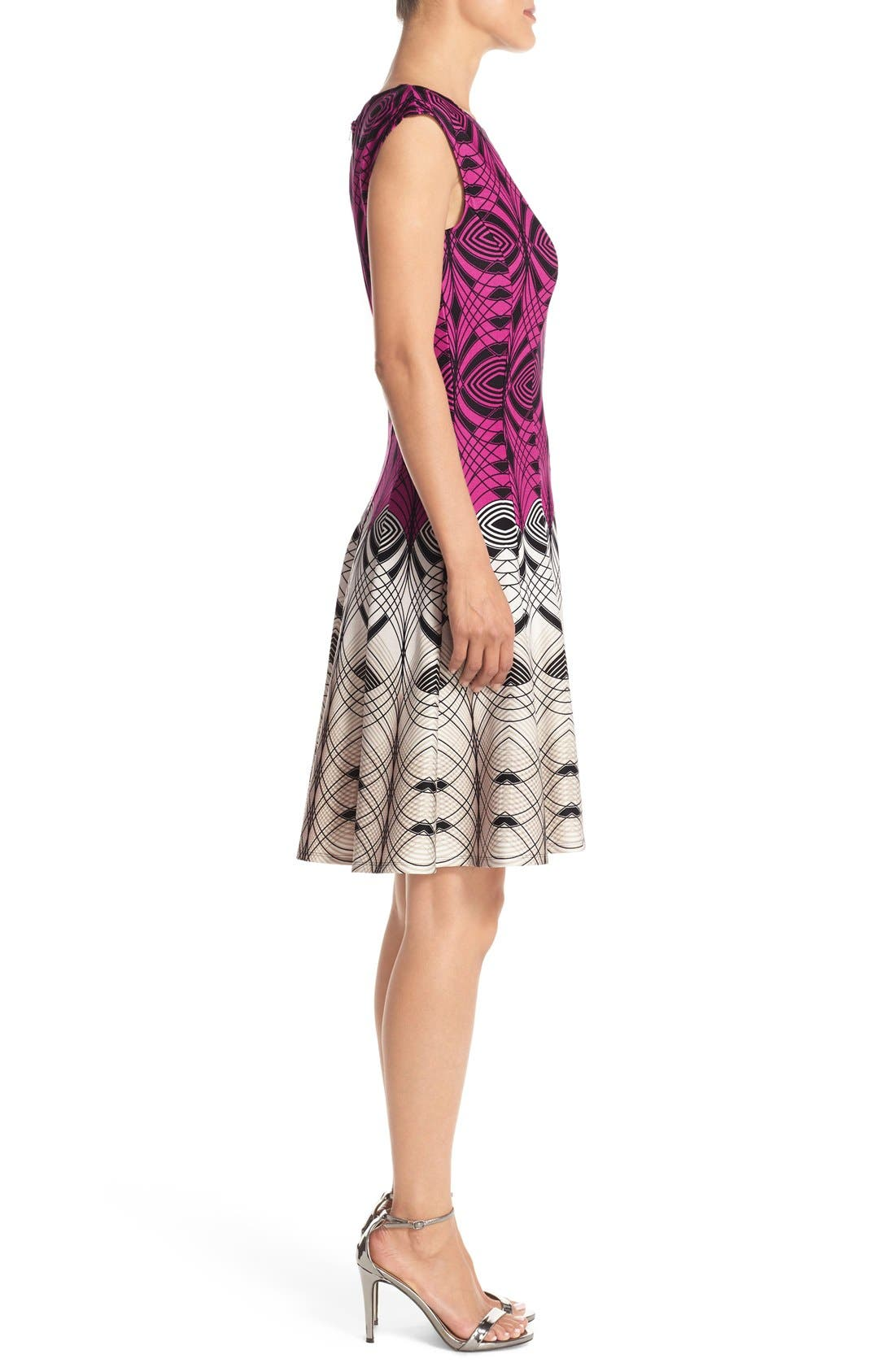 Alternate Image 3  - Gabby Skye Colorblock Print Scuba Fit & Flare Dress
