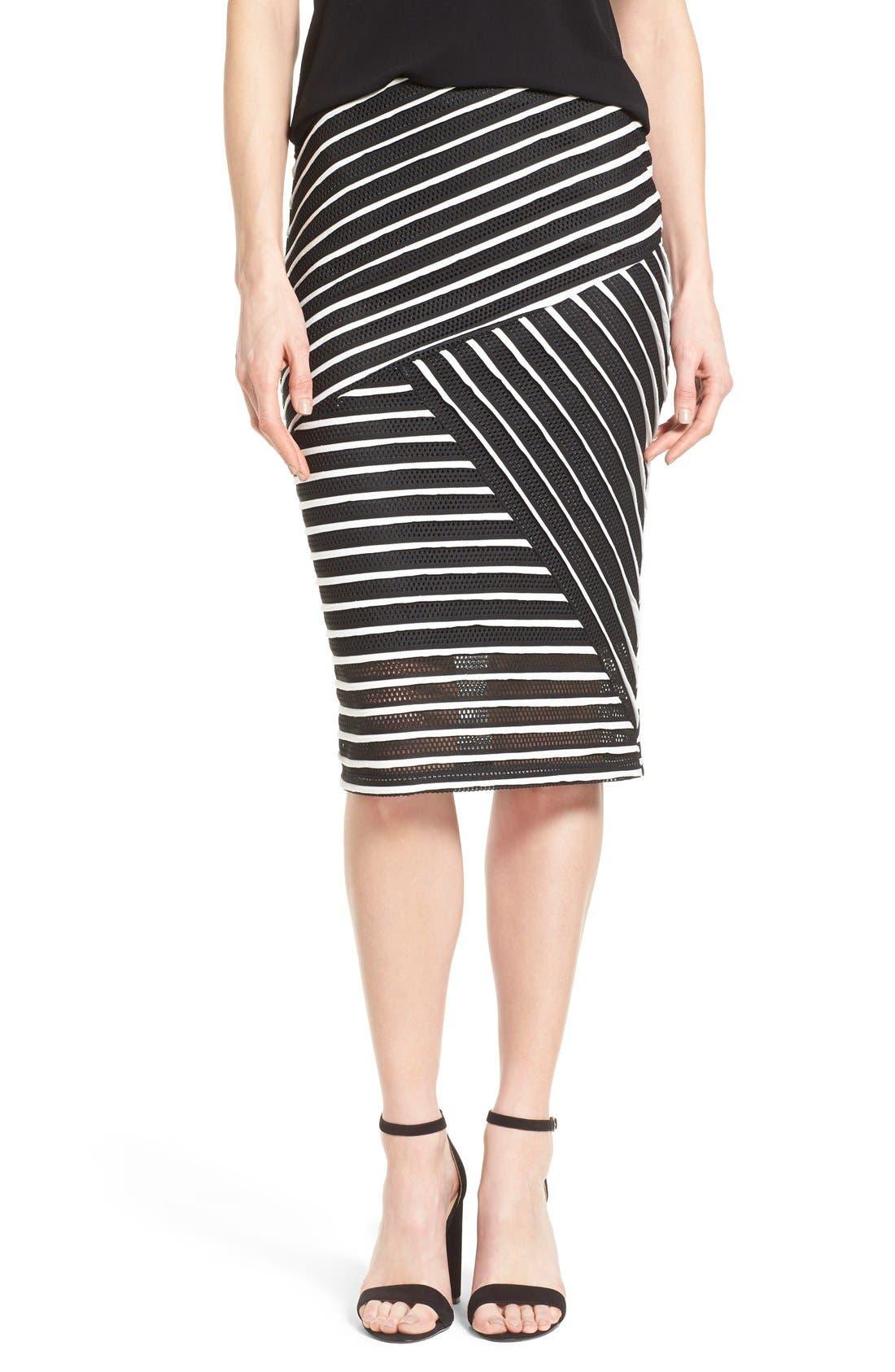 Alternate Image 1 Selected - Bobeau Stripe Mesh Tube Skirt