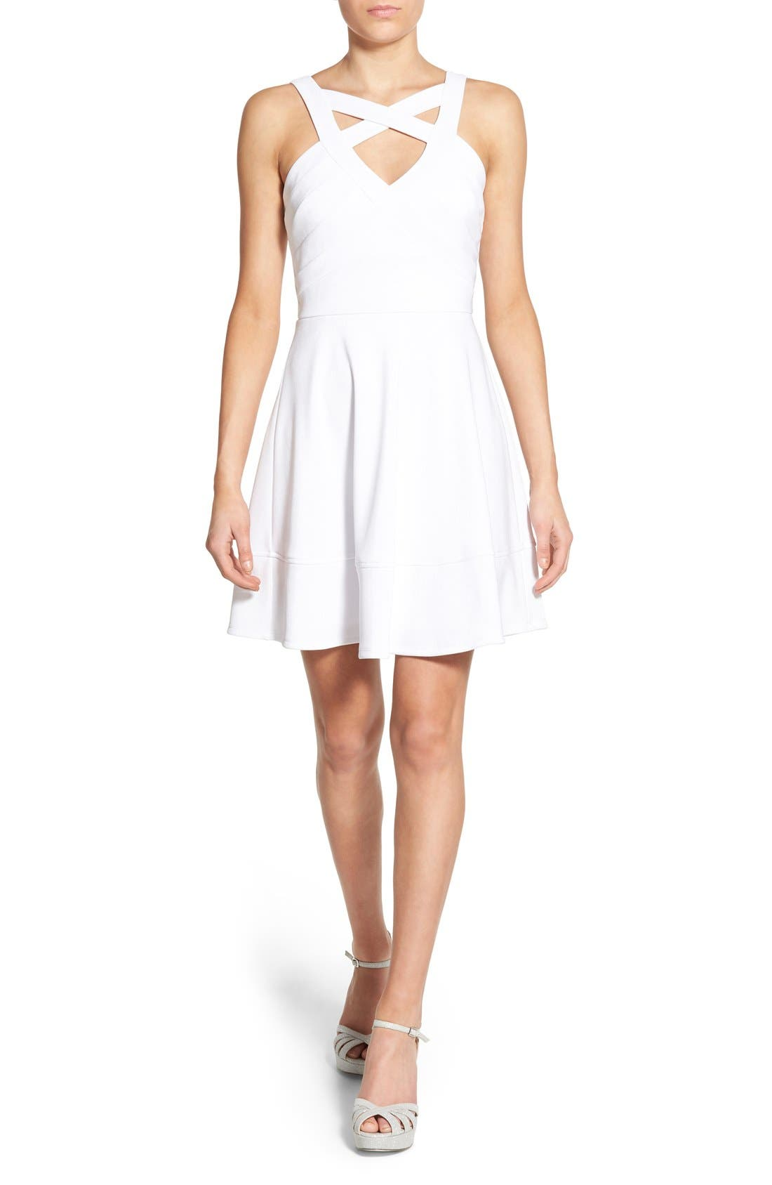 Main Image - Love, Nickie Lew Cross Front Skater Dress