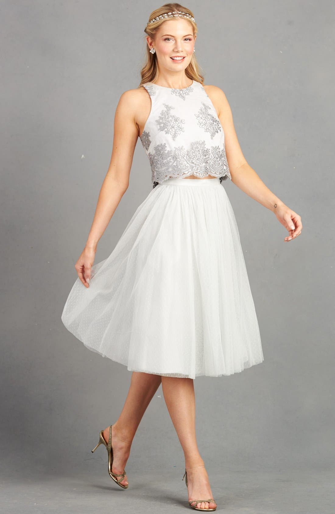 Alternate Image 5  - Donna Morgan 'Beatrix' Lace & Dotted Tulle Two-Piece Dress