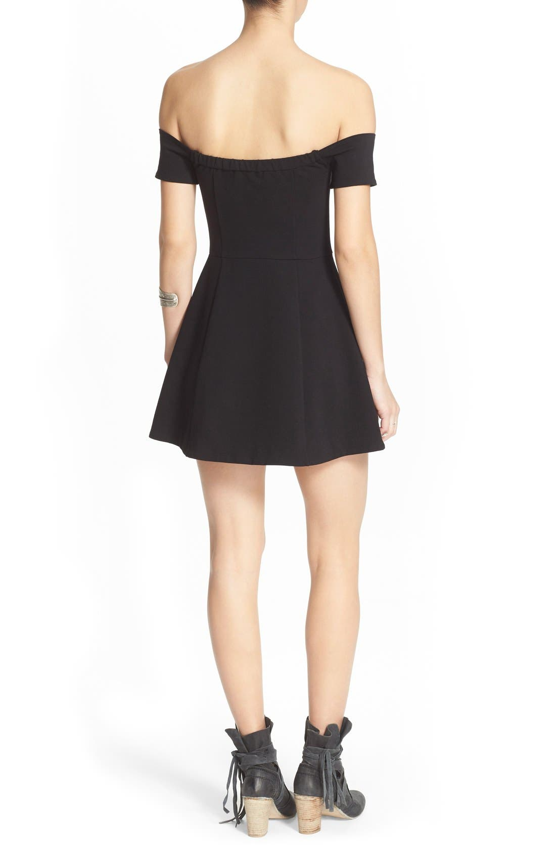 Alternate Image 2  - Free People 'Black Mambo' Off the Shoulder Minidress