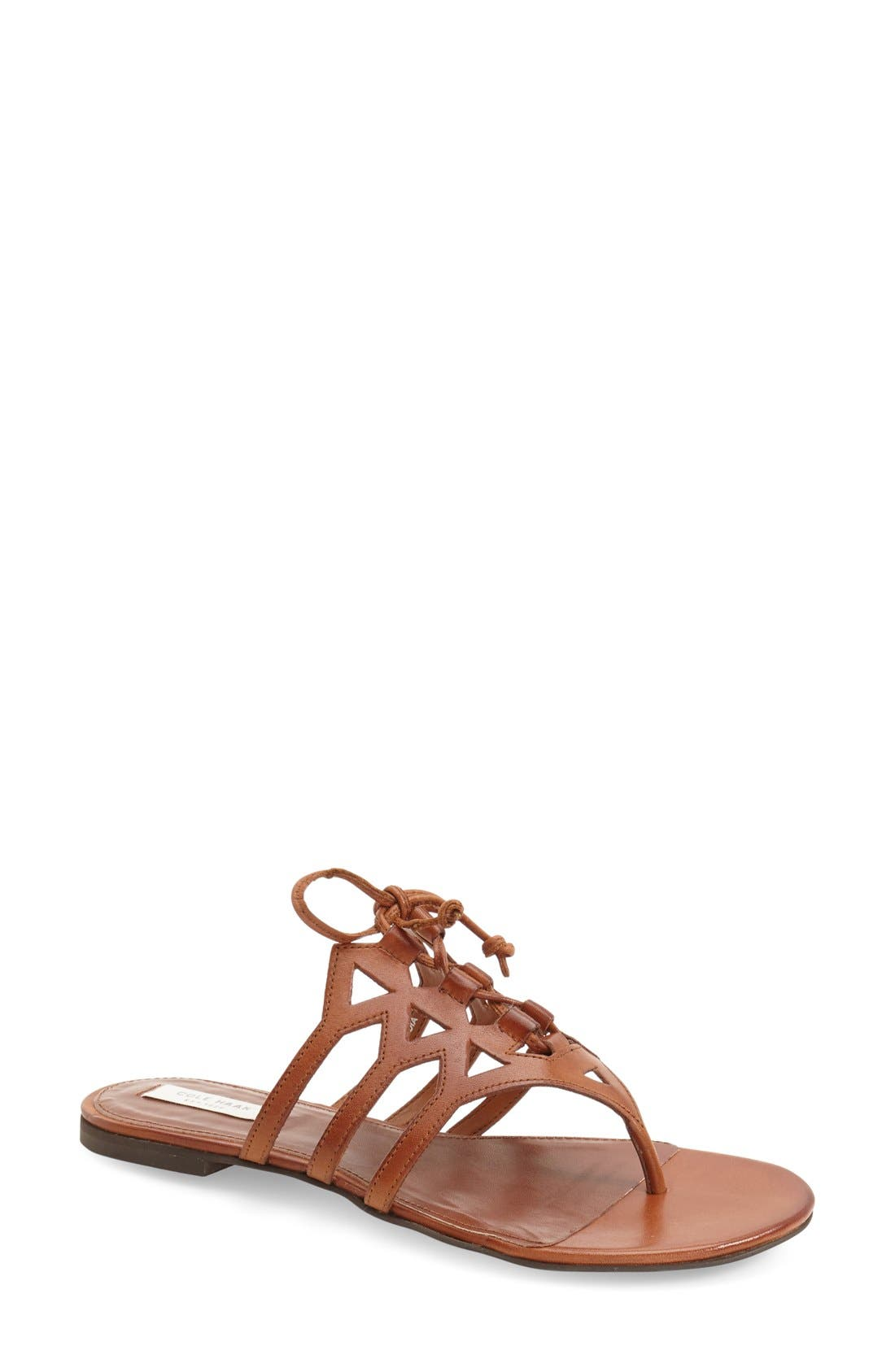 Alternate Image 1 Selected - Cole Haan 'Claudia' Flat Lace-Up Sandal (Women)