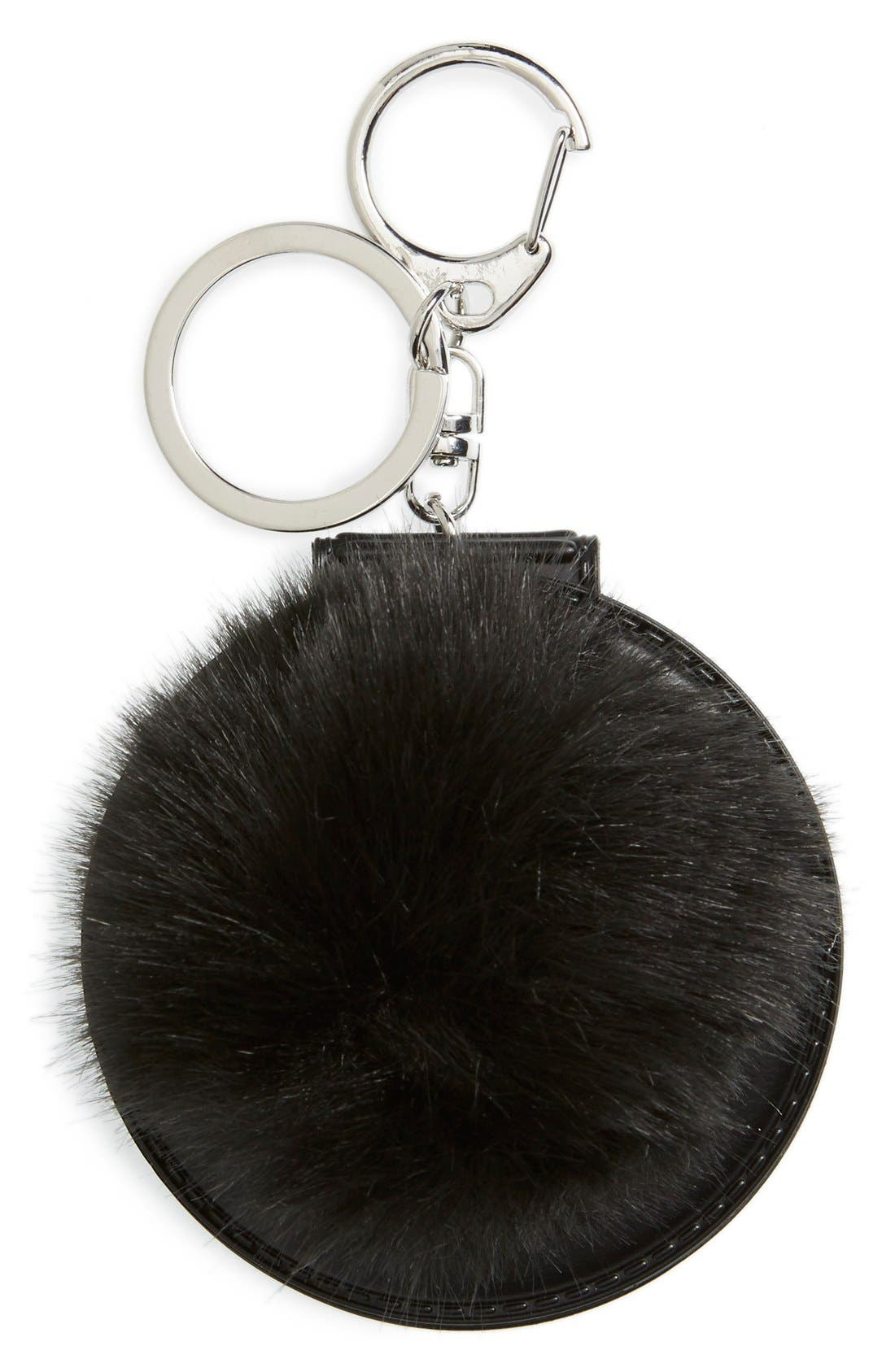 Main Image - Topshop Faux Fluffy Pom Key Ring with Mirror