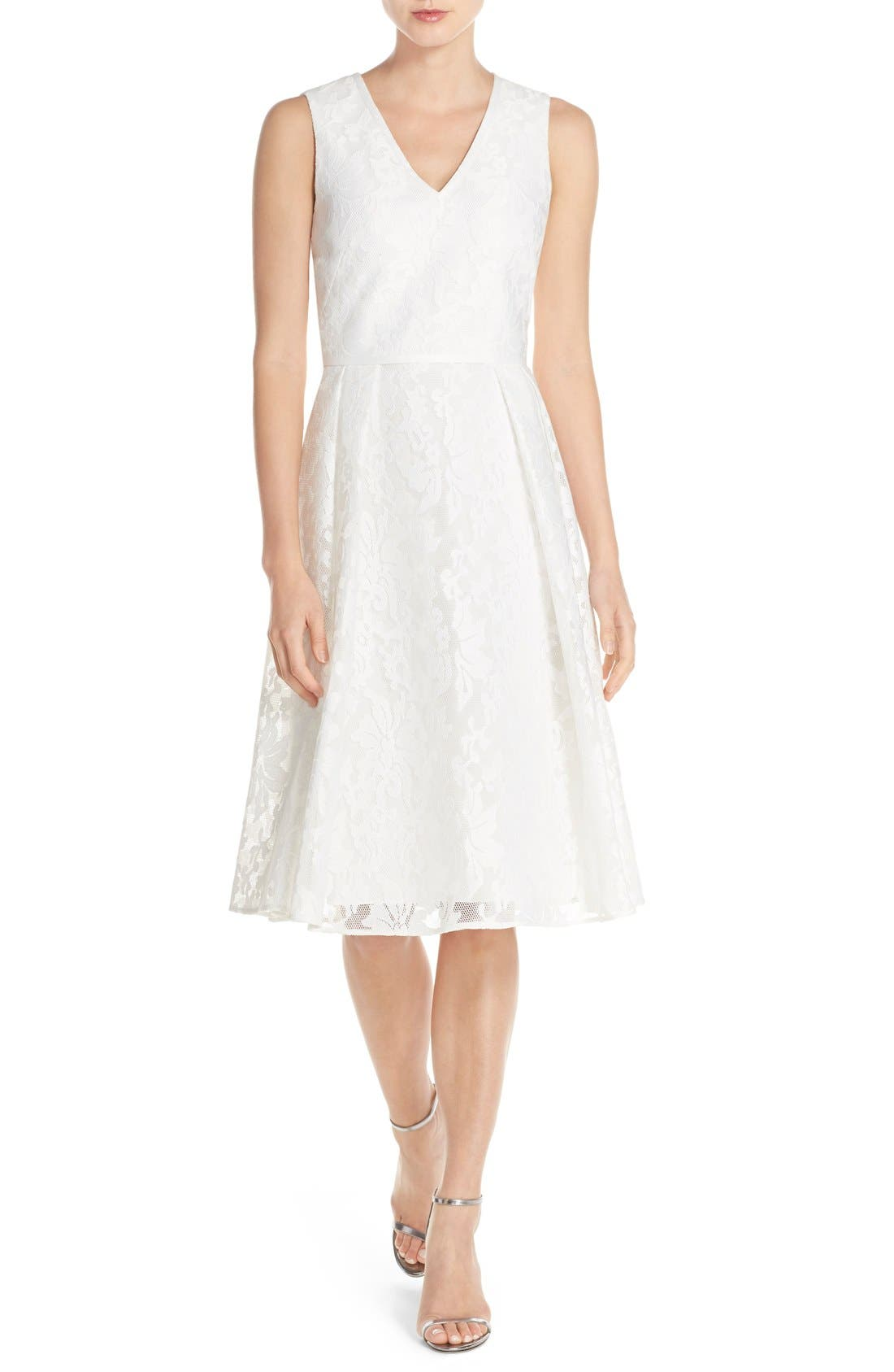 Alternate Image 1 Selected - Ted Baker London 'Deah' V-Neck Bonded Mesh Lace Dress