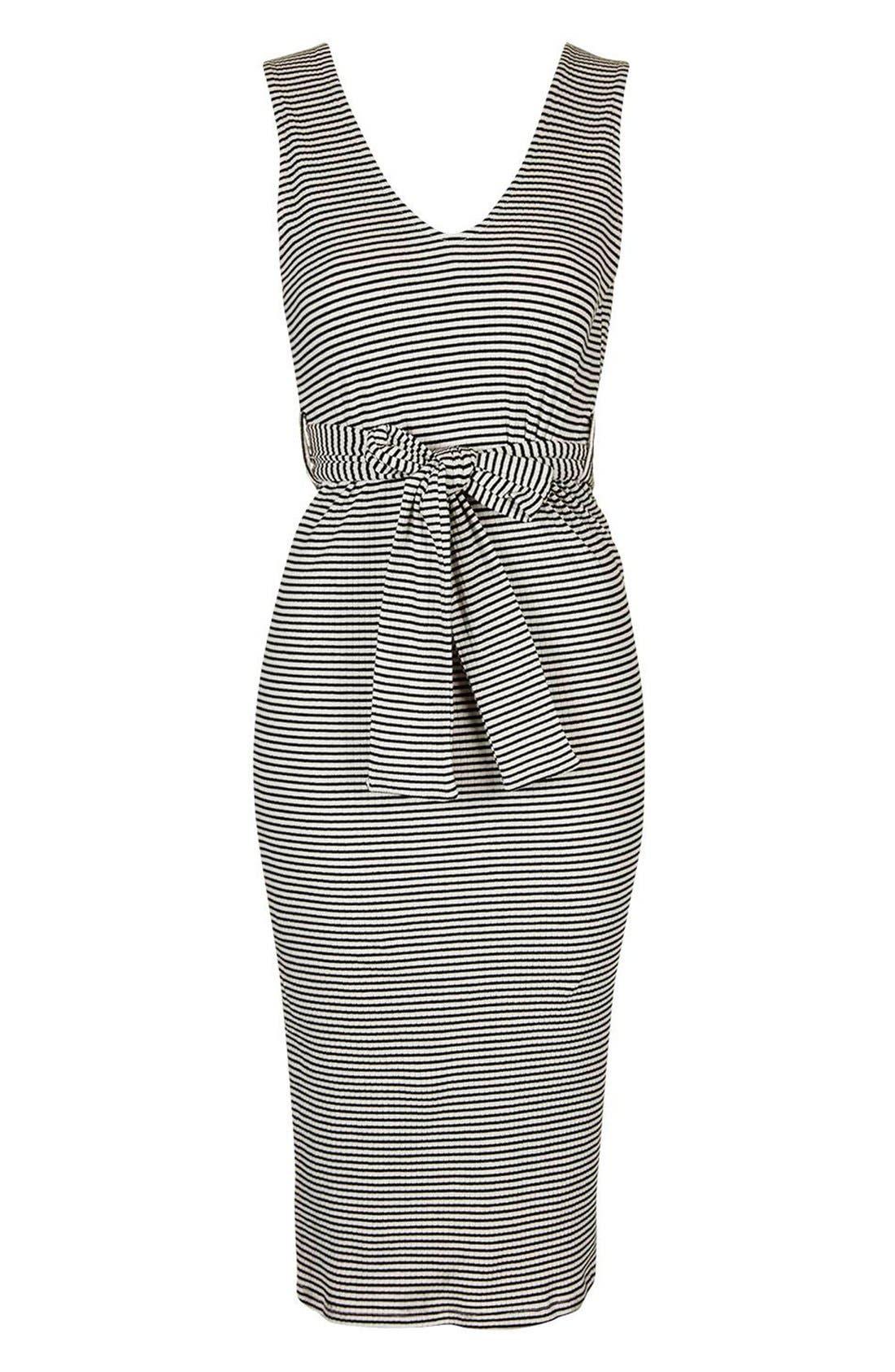 Alternate Image 3  - Topshop Belted Stripe V-Neck Midi Dress