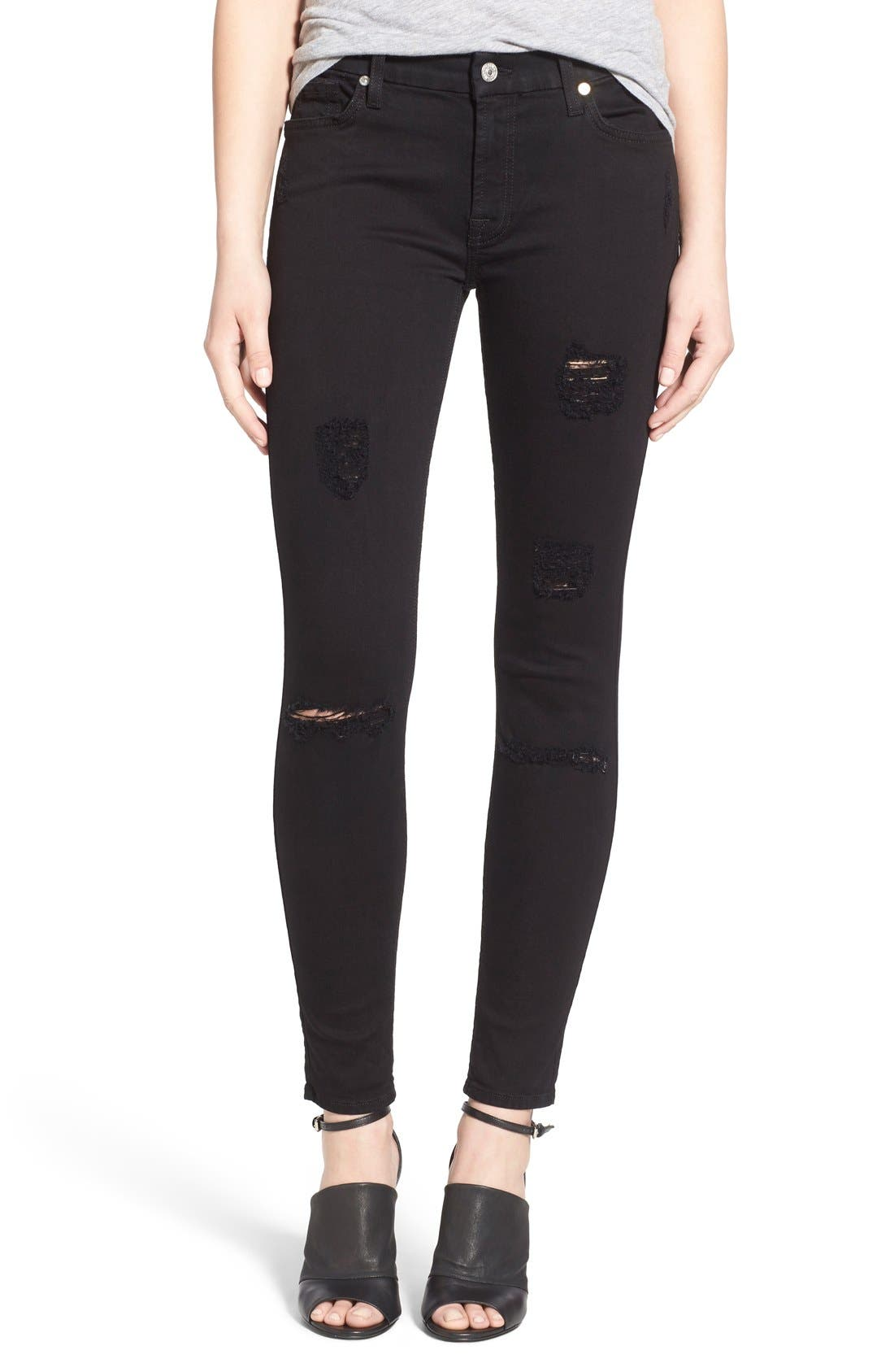 Main Image - 7 For All Mankind® Destroyed Ankle Skinny Jeans (Slim Illusion Luxe Black)