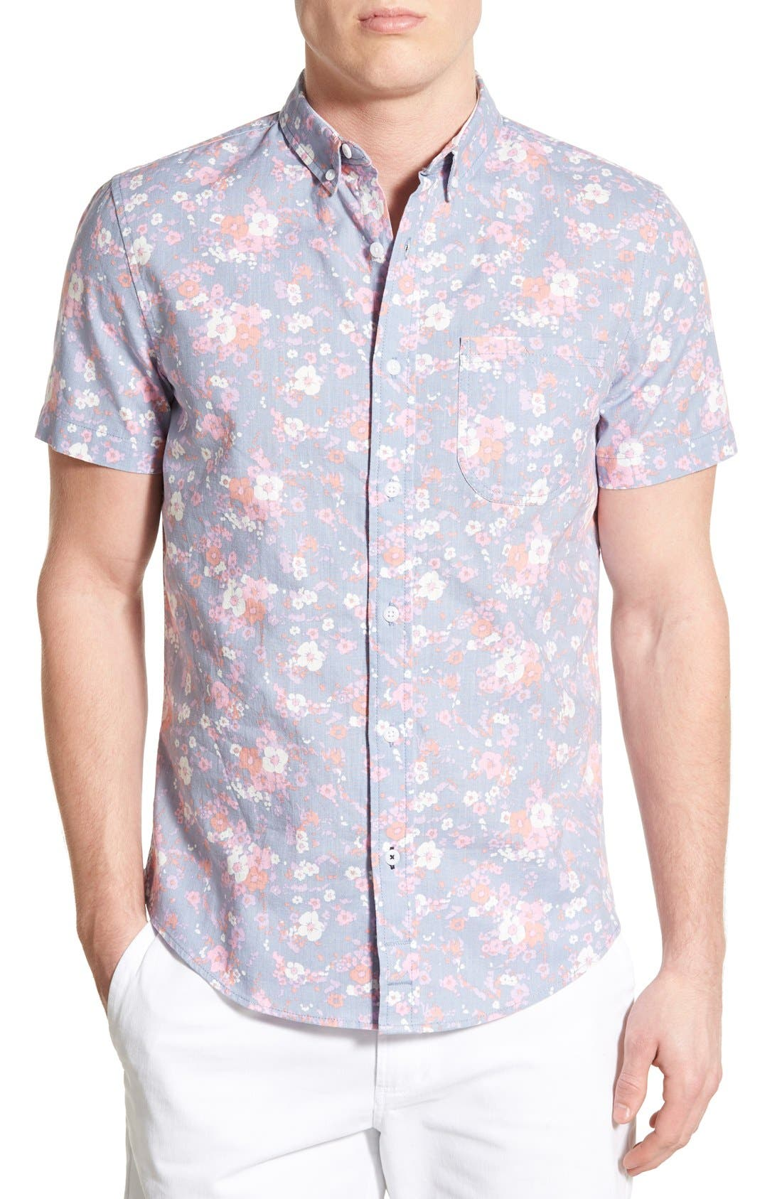 Alternate Image 1 Selected - 1901 'Gifford' Trim Fit Short Sleeve Floral Print Chambray Shirt